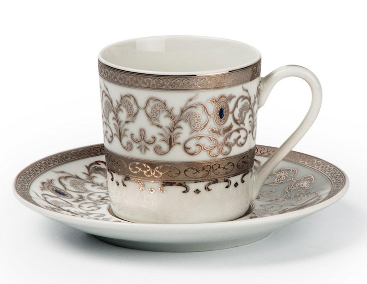 Mimosa 1647, набор кофейных пар*6шт (12пр), цвет: бело-зеленый с золотомVT-1520(SR)Кофейная пара 120 мл * 6 штук/ 12 предметов Материал: фарфор: цвет: бело-зеленый с золотомСерия: MIMOSA