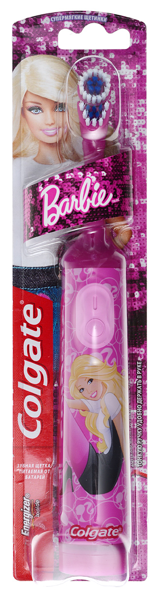 Colgate Зубная щетка Barbie, электрическая, с мягкой щетиной, цвет: розовыйУТ000001233Colgate Barbie - детская электрическая зубная щетка с мягкой щетиной. Маленькая вибрирующая головка с очень мягкими щетинками очищает детские зубы и бережно удаляет налет. Эргономичная ручка не скользит в ладони, амортизирует давление руки на нежную поверхность десен. Зубная щетка работает от двух батареек типа ААА. Батарейки в комплекте. Чистить зубы 2 раза в день, в течение 3-х минут, используя количество зубной пасты размером с горошину (примерно 1,0 г). Не рекомендовано детям младше 3 лет. Не глотать. При использовании фторсодержащих добавок проконсультироваться у стоматолога.Товар сертифицирован.