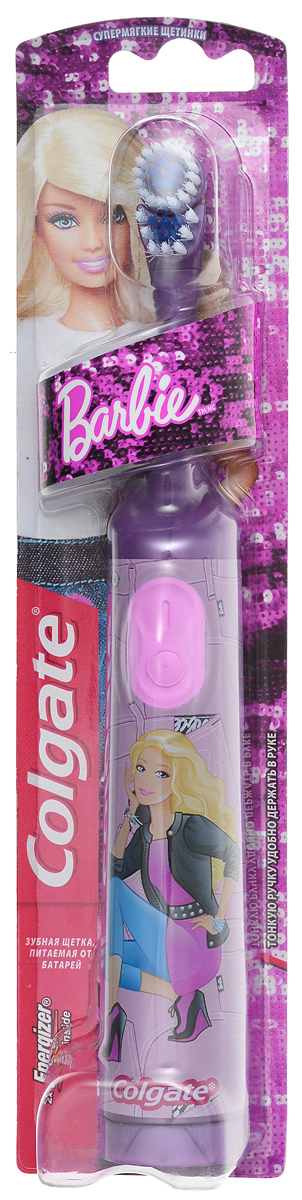 Colgate Зубная щетка Barbie, электрическая, с мягкой щетиной, цвет: фиолетовыйFCN10038_фиолетовыйColgate Barbie - детская электрическая зубная щетка с мягкой щетиной. Маленькая вибрирующая головка с очень мягкими щетинками очищает детские зубы и бережно удаляет налет. Эргономичная ручка не скользит в ладони, амортизирует давление руки на нежную поверхность десен. Зубная щетка работает от двух батареек типа ААА. Батарейки в комплекте. Товар сертифицирован.