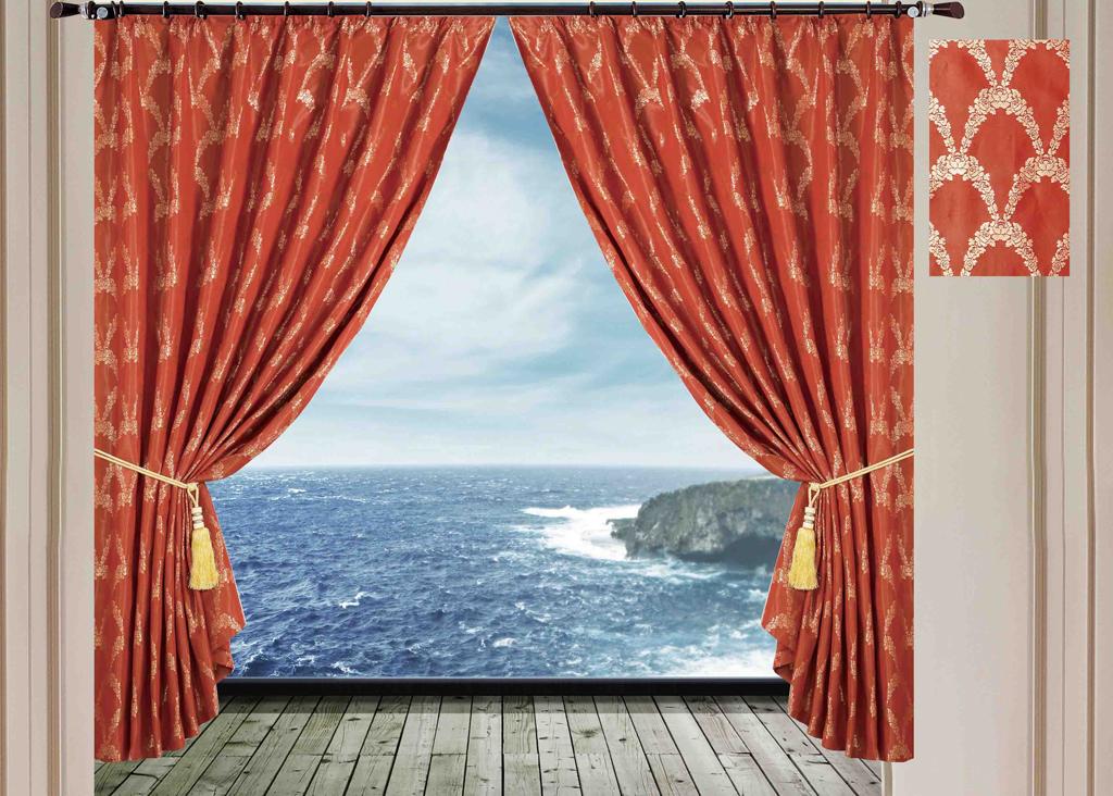 Комплект штор SL, на ленте, цвет: коричнево-красный, высота 270 см. 1028410284Роскошный комплект штор SL изготовлен из мягкого бархатистого полиэстера с жаккардовым рисунком. Комплект состоит из двух плотных полотен, благодаря чему они надежно защищают комнату от солнечного света днем и от уличного освещения вечером. По верхнему краю прошита плотная широкая шторная лента для крючков. Рекомендации по уходу: - Ручная или машинная стирка при температуре не выше 40°С. - Разрешено гладить при максимальной температуре 110°С. - При стирке не использовать средства содержащие отбеливатели. - Химическая чистка запрещена.