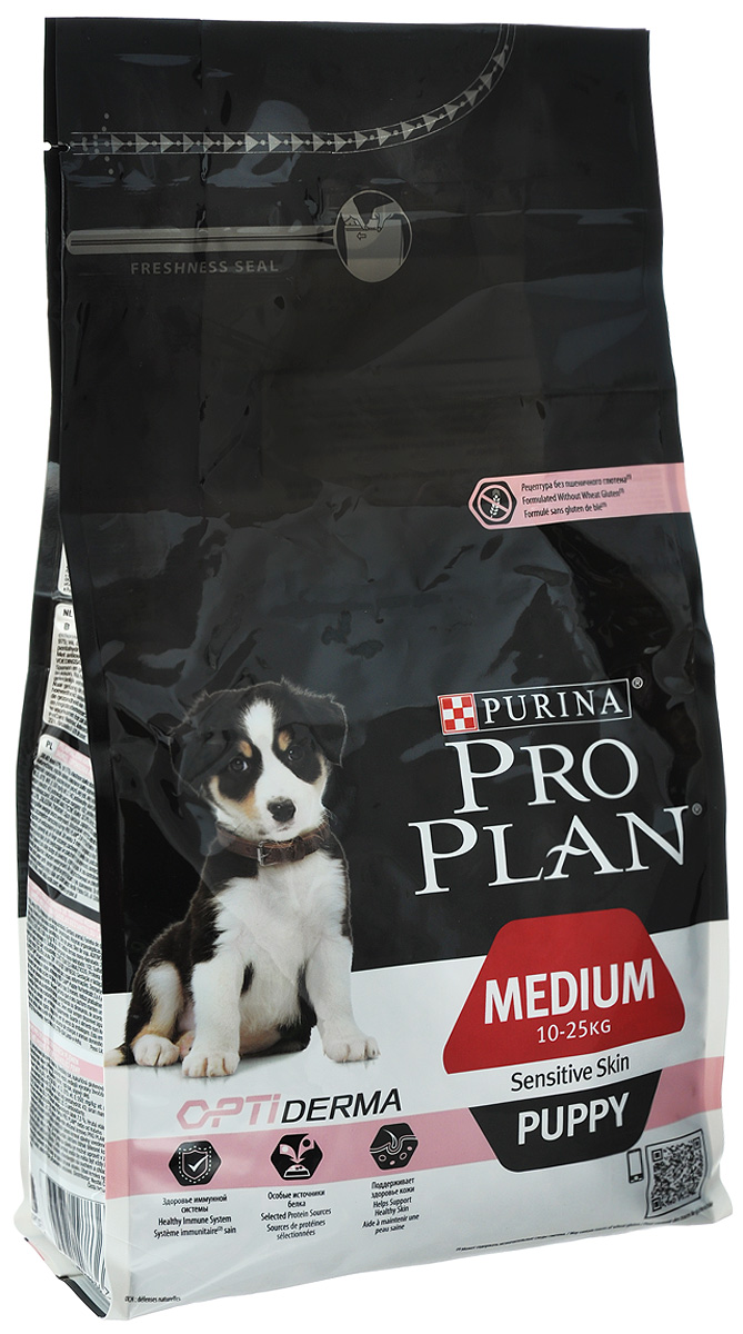 Корм сухой Pro Plan Puppy Sensitive для щенков с чувствительной кожей, с лососем и рисом, 1,5 кг0120710Корм сухой Pro Plan Puppy Sensitive - полнорационный корм для щенков средних пород весом 10-25 кг. Некоторые щенки имеют склонность к расчесыванию и расцарапыванию своей кожи, у них может чаще наблюдаться перхоть. Корм Purina Pro Plan Optiderma обеспечивает улучшенное питание, которое поддерживает чувствительную кожу щенков. Комплекс Optiderma включает в себя специальную комбинацию питательных веществ, которые поддерживают здоровье кожи и красивую шерсть, а отобранные источники белка помогают сократить возможные реакции, связанные с пищевой чувствительностью. Особенности: - способствует формированию здоровой иммунной системы, - специально отобранные источники белка для собак с чувствительной кожей, - клинически подтверждено: поддерживает здоровье кожи, - сочетание основных питательных веществ, которое помогает поддерживать здоровье суставов вашего щенка при активном образе жизни, - может быть рекомендован для кормления беременных и кормящих собак,- содержит высококачественный белок из лосося. Состав: лосось (17%), рис (17%), сухой белок лосося, животный жир, кукурузный глютен, кукурузный крахмал, продукты переработки растительного сырья, яичный порошок, вкусоароматическая кормовая добавка, сухая мякоть свеклы, кукуруза, минеральные вещества, сушеный корень цикория, витамины, рыбий жир, масло соевое, антиоксиданты. Добавленные вещества: МЕ/кг: витамин А: 30000; витамин D3: 975; витамин Е: 550; мг/кг: витамин С: 140; железо: 70; йод: 1,8; медь: 11; марганец: 33; цинк: 130; селен: 0,11. Гарантируемые показатели: белок 32%, жир 20%, сырая зола 7,5%, сырая клетчатка 3%. Товар сертифицирован.