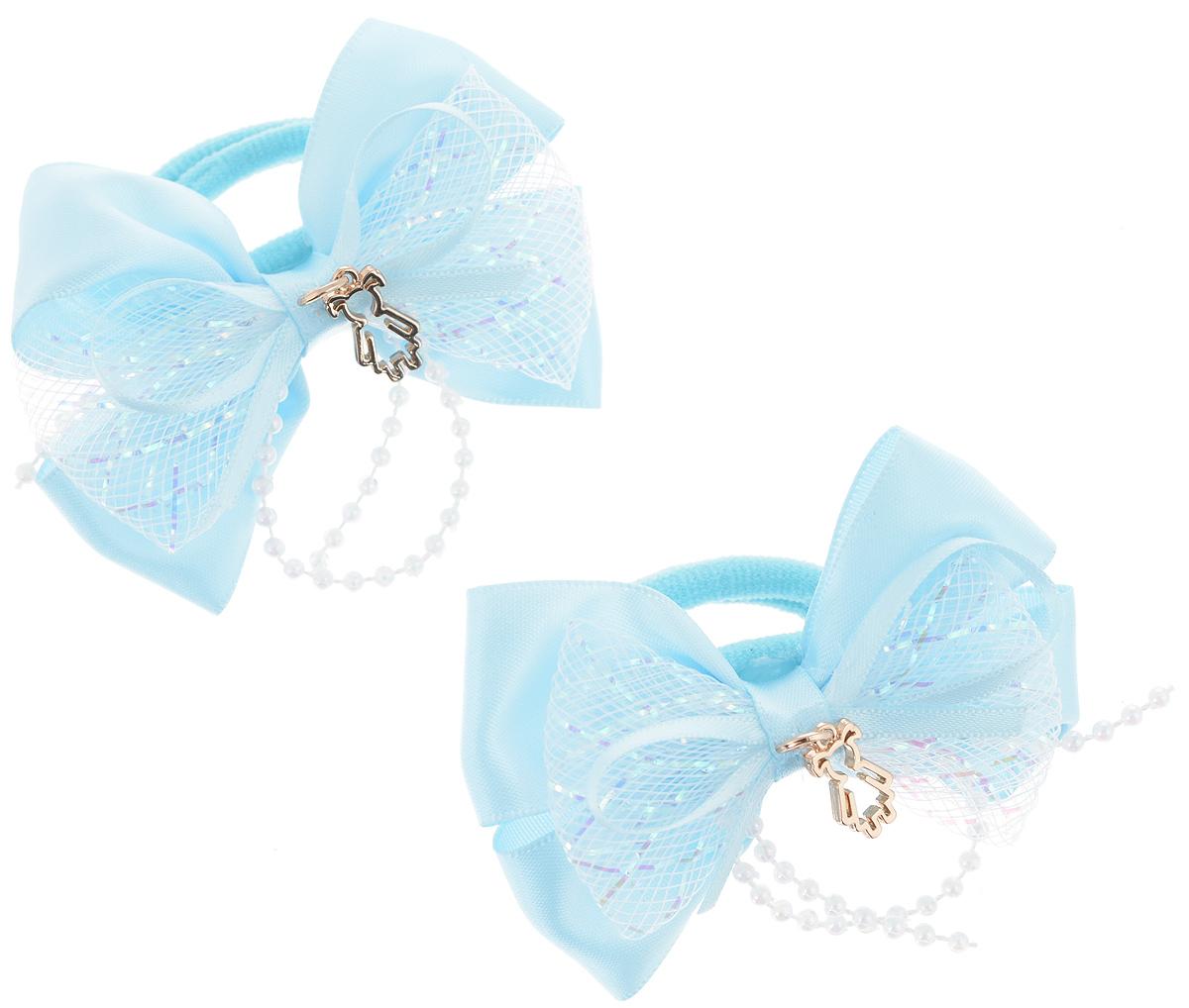 Резинка для волос Babys Joy, цвет: голубой, 2 шт. MN 143/2Серьги с подвескамиРезинка для волос Babys Joy изготовлена из текстиля и дополнена милым бантиком, который оформлен бусинками и подвеской в форме девочки.Комплект содержит две резинки.Резинка для волос Babys Joy надежно зафиксирует волосы и подчеркнет красоту прически вашей маленькой принцессы.