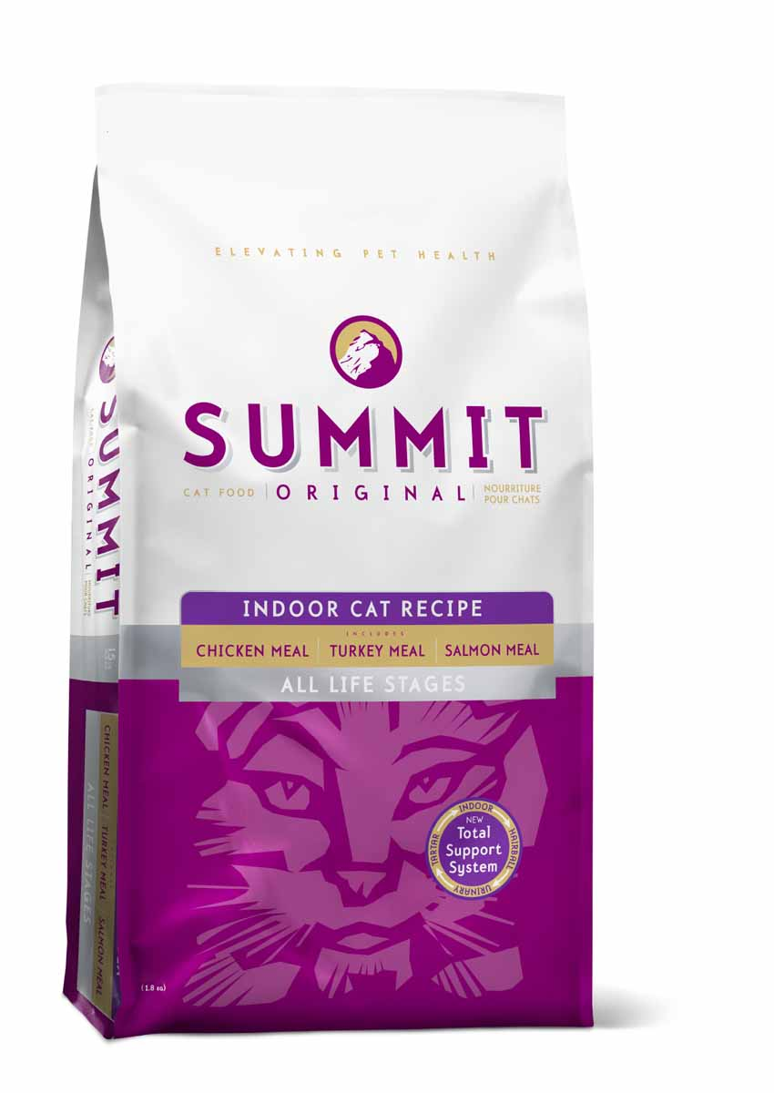 Summit holistic Для домашних кошек три вида мяса с цыпленком, лососем и индейкой - все стадии жизни (Original 3 Meat, Indoor Cat Recipe CF), 1,8 кг.0120710Summit Holistic - супер-премиум корм из Канады Все стадии жизни.Оригинальный рецепт для котят и кошек был создан с исключительным подбором ингредиентов премиум-класса, для восхитительного вкуса и исключительных преимущества для здоровья, в том числе помощь в предотвращении вывода шерсти. При изготовлении Summit Holistic используется уникальное сочетание высококачественных ингредиентов, которые обеспечивают исключительно натуральный вкус и максимальную питательную ценность. Summit Holistic содержит только качественные ингредиенты от давно зарекомендовавших себя фермерских хозяйств компании Petcurean (производители холистик кормов GO! и NOW! Natural). Не содержит субпродуктов, искусственных красителей, сои, кукурузы, мясных ингредиентов, выращенных на гормонах.Состав: дегидрированное мясо цыпленка, цельный коричневый рис, овсянка, картофель, горох, куриный жир (консервированный токоферолами), натуральный куриный ароматизатор, дегидрированное мясо лосося, дегидрированное мясо индейки, рыбий жир, хлорид калия, сульфат кальция, фосфорная кислота, хлорид натрия, хлорид холина, витамины (витамин А, витамин D3 добавки, витамин Е, ниацин, инозит, L-аскорбил-2-полифосфат (источник витамина С), тиамин мононитрат, пантотенат d-кальция, рибофлавин, пиридоксин гидрохлорид, бета-каротин, фолиевая кислота, биотин, витамин В12), минералов (протеинат цинка, железа протеинат, меди протеинат, оксид цинка, протеинат марганца, сульфат меди, йодат кальция, сульфат железа, оксид марганца, селенит натрия), таурин, DL-метионин, сушат корень цикория, экстракт дрожжей, экстракт юкки Шидигера, L-карнитин, розмарин.