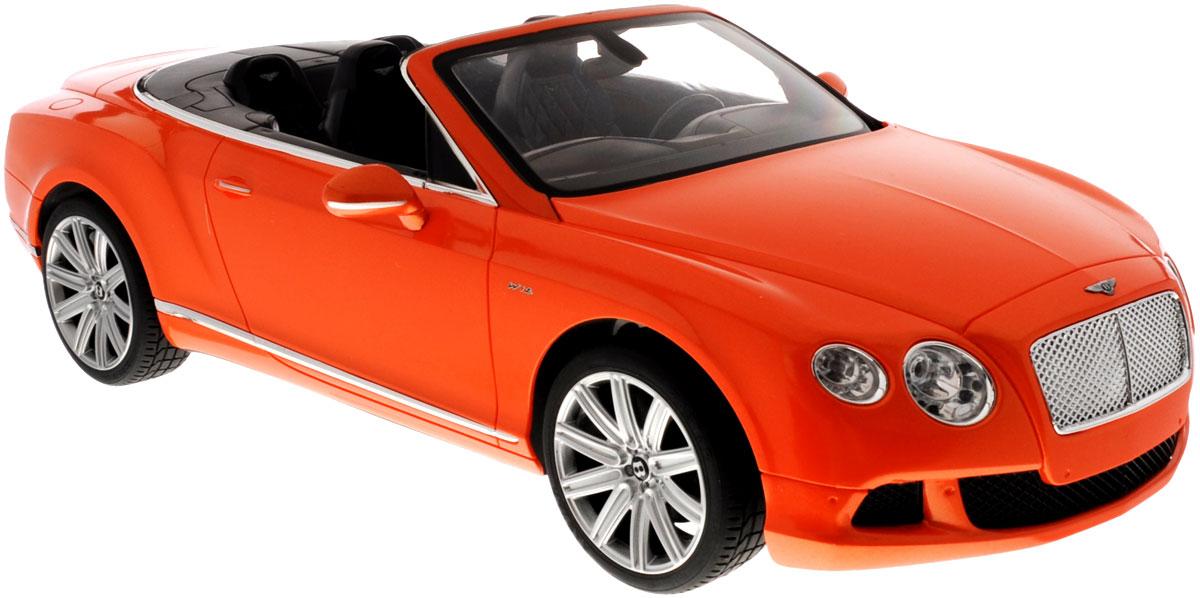 """Радиоуправляемая модель Rastar """"Bentley Continental GT Speed Convertible"""" станет отличным подарком любому мальчику! Все дети хотят иметь в наборе своих игрушек ослепительные, невероятные и крутые автомобили на радиоуправлении. Тем более, если это автомобиль известной марки с проработкой всех деталей, удивляющий приятным качеством и видом. Одной из таких моделей является автомобиль на радиоуправлении Rastar """"Bentley Continetal GT Speed Convertible"""". Это точная копия настоящего авто в масштабе 1:12. Авто обладает неповторимым провокационным стилем и спортивным характером. Потрясающая маневренность, динамика и покладистость - отличительные качества этой модели. Возможные движения: вперед, назад, вправо, влево, остановка. Имеются световые эффекты. Пульт управления работает на частоте 40 MHz. Для работы игрушки необходимы 5 батареек типа АА (не входят в комплект). Для работы пульта управления необходима 1 батарейка 9V (6F22) (не входит в комплект)."""