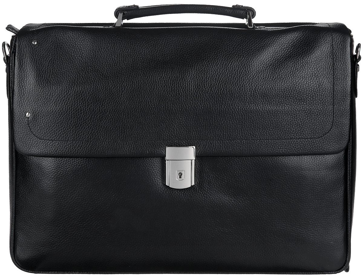 Портфель мужской Fabretti, цвет: черный. LRB114S76245Стильный мужской портфель Fabretti выполнен из натуральной кожи с зернистой фактурой, оформлен металлической фурнитурой.Изделие закрывается клапаном на замок-защелку и ключом (ключик в комплекте), и дополнительно на застежку-молнию. Изделие имеет одно основное отделение, внутри которого расположен мягкий карман для планшета с хлястиком на липучке, два открытых кармана для мелочей и мобильного телефона и врезной карман на застежке-молнии. Снаружи, на тыльной стенке портфеля, расположен накладной карман-органайзер, который закрывается на круговую застежку-молнию. Органайзер включает в себя четыре кармана для кредитных карт, два открытых кармана, два фиксатора для ручек и два кармашка для sim-карт. На лицевой стороне портфеля под клапаном расположен накладной карман. Изделие дополнено практичной ручкой и съемным плечевым ремнем, длина которого регулируется при помощи пряжки.Стильный и практичный мужской портфель Fabretti выгодно дополнит ваш деловой образ.