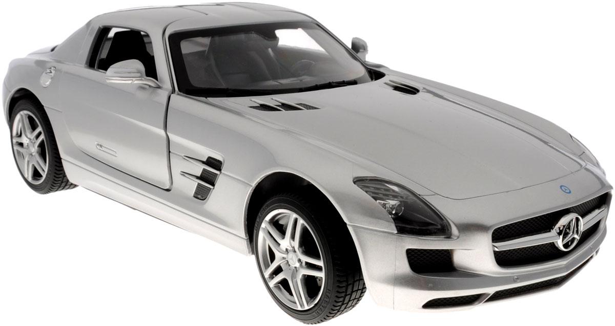 """Радиоуправляемая модель Rastar """"Mercedes-Benz SLS AMG"""" станет отличным подарком любому мальчику! Все дети хотят иметь в наборе своих игрушек ослепительные, невероятные и крутые автомобили на радиоуправлении. Тем более, если это автомобиль известной марки с проработкой всех деталей, удивляющий приятным качеством и видом. Одной из таких моделей является автомобиль на радиоуправлении Rastar """"Mercedes-Benz SLS AMG"""". Это точная копия настоящего авто в масштабе 1:14. Авто обладает неповторимым провокационным стилем и спортивным характером. Потрясающая маневренность, динамика и покладистость - отличительные качества этой модели. Возможные движения: вперед, назад, вправо, влево, остановка. Дверцы машины открываются. Имеются световые эффекты. Пульт управления работает на частоте 40 MHz. Для работы игрушки необходимы 5 батареек типа АА (не входят в комплект). Для работы пульта управления необходима 1 батарейка 9V (6F22) (не входит в комплект)."""