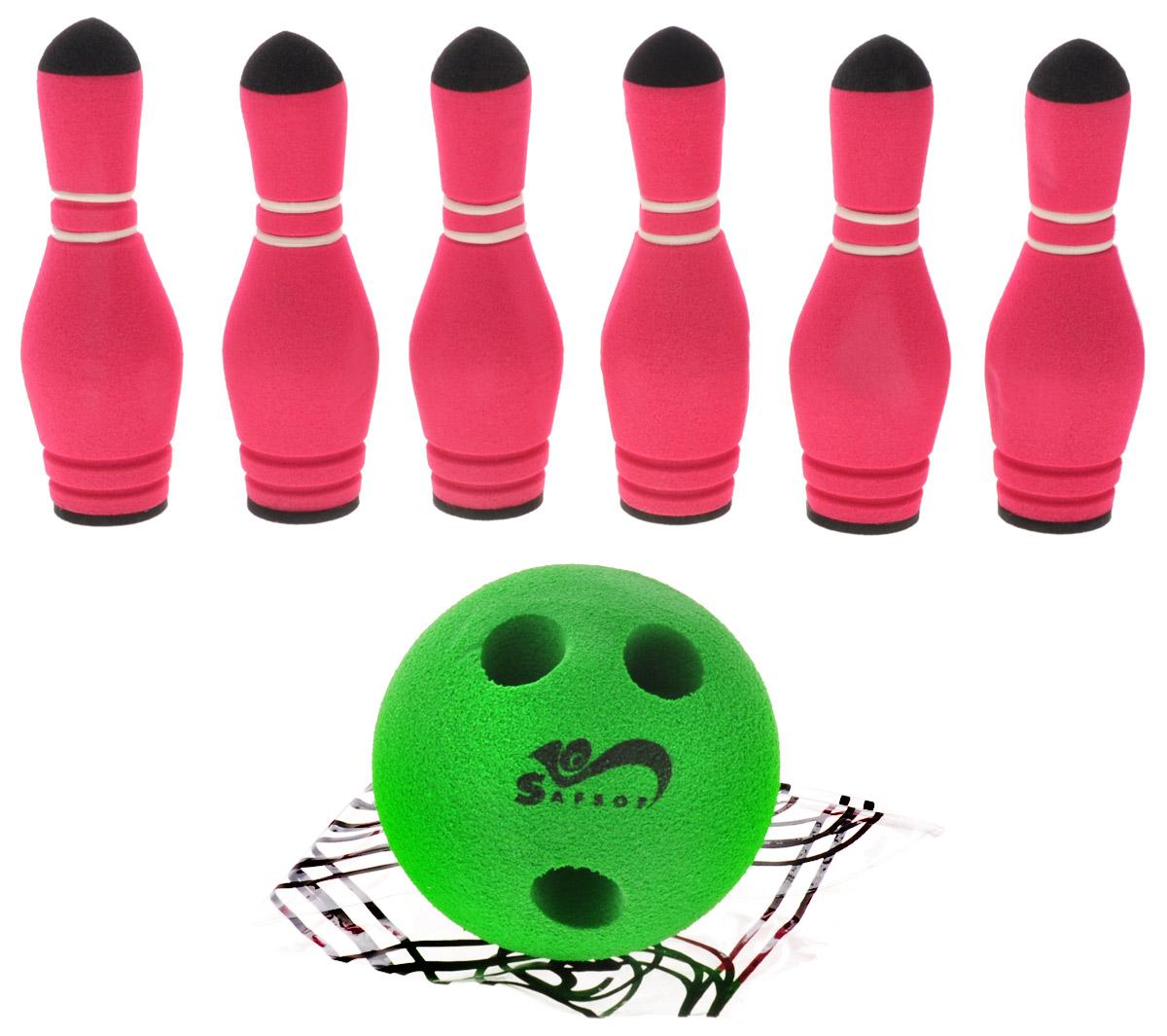"""Игровой набор Safsof """"Мини-боулинг"""", изготовленный из вспененной резины, состоит из шести кеглей и шара. Набор выполнен из мягкого материала, что обеспечивает безопасность ребенку. Суть игры в боулинг - сбить шаром максимальное количество кеглей. Число игроков и количество туров - произвольное. Очки, набранные с каждым броском мяча, рассматриваются как количество сбитых кегель. Расстояние, с которого совершается бросок, определяется игроками. Каждый игрок имеет право на два броска в одной рамке (рамка - треугольник, на поле которого выстраиваются кегли перед каждым первым броском очередного игрока). Бросок, при котором все кегли сбиты, называется """"страйк"""" и обозначается как Х. Если все кегли сбиты первым броском, второй бросок не требуется: рамка считается закрытой. Призовые очки за страйк - это сумма кеглей, сбитых игроком следующими двумя бросками. Выигрывает тот игрок, который в сумме набирает больше очков."""
