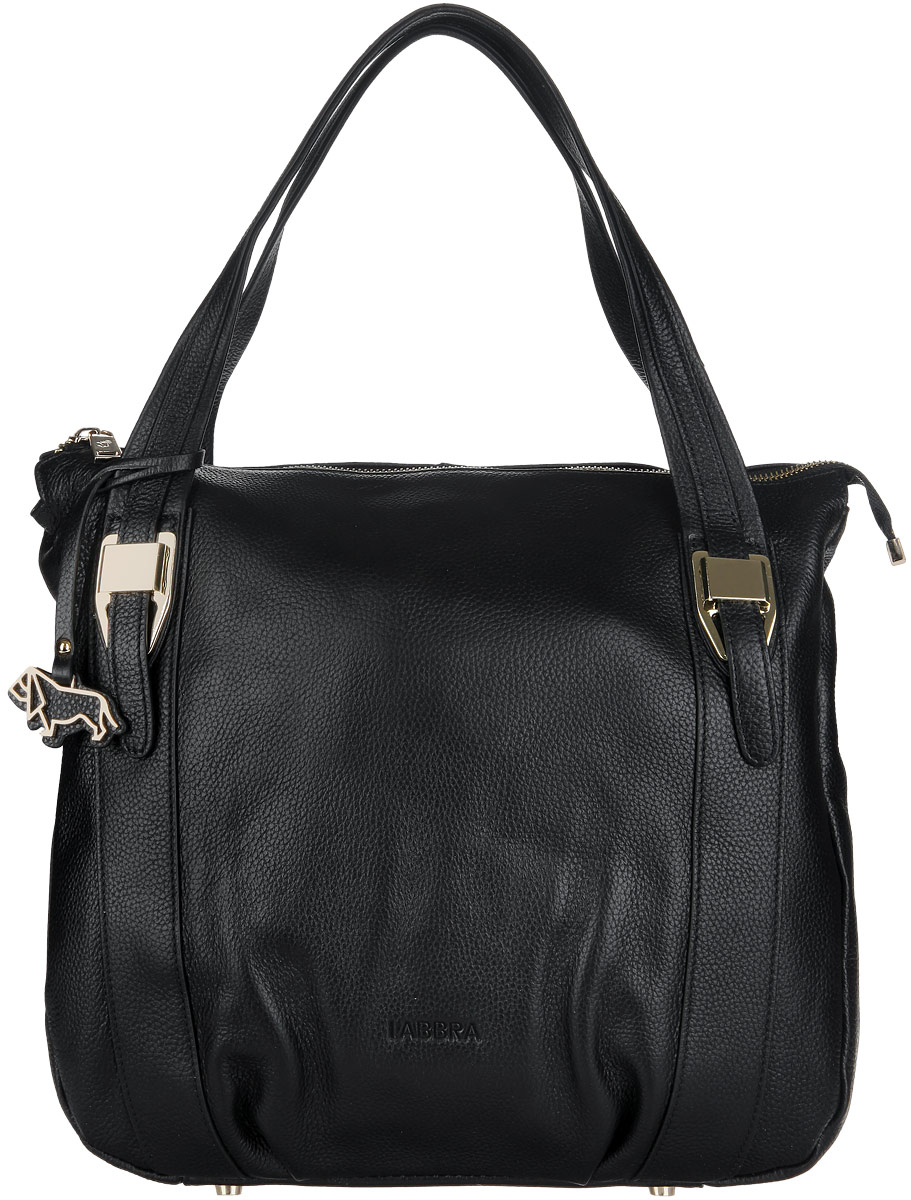 Сумка женская Labbra, цвет: черный. L-9914101248Стильная сумка Labbra выполнена из натуральной кожи с зернистой фактурой, оформлена металлической фурнитурой и подвеской с символикой бренда.Сумка содержит одно отделение, которое закрывается на застежку-молнию. Внутри изделия расположен врезной карман на молнии и два накладных кармана, карман-средник на молнии. Снаружи, в тыльной стенке, размещен врезной карман на молнии. Изделие оснащено практичными ручками, которые позволят носить сумку, как в руках, так и на плече. Ручки дополнены фурнитурой из металла. Дно сумки оснащено металлическими ножками, которые защитят изделие от преждевременных повреждений.Оригинальный аксессуар позволит вам завершить образ и быть неотразимой.