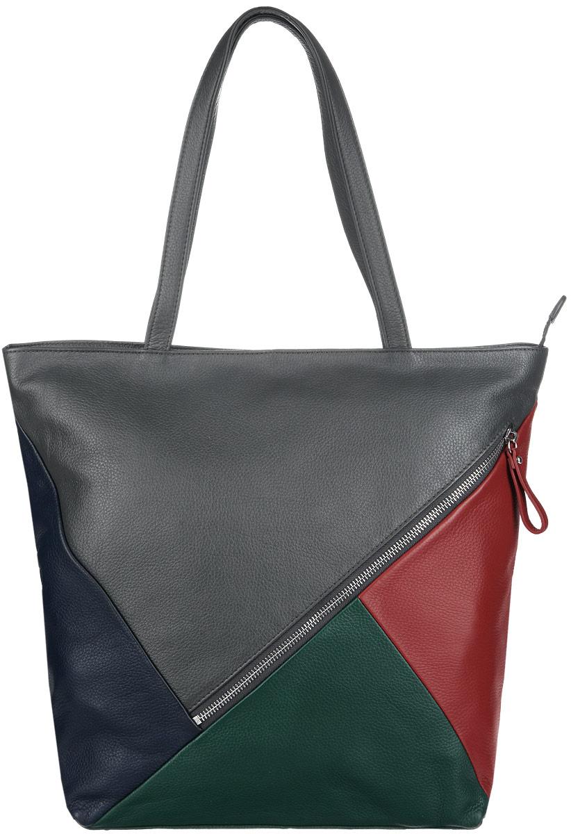 Сумка женская Pimo Betti, цвет: серый, зеленый, красный, синий. 12942BM-W2L39845800Стильная сумка Pimo Betti выполнена из натуральной кожи насыщенных оттенков с зернистой фактурой, оформлена металлической фурнитурой.Сумка содержит одно отделение, которое закрывается на застежку-молнию. Внутри изделия расположен врезной карман на молнии и два накладных кармана, карман-средник на молнии. Снаружи, в тыльной и лицевой стенках сумки, размещены два врезных кармана на молниях. Изделие оснащено практичными ручками, которые позволят носить сумку, как в руках, так и на плече. Дно сумки оснащено металлическими ножками, которые защитят изделие от преждевременных повреждений.Оригинальный аксессуар позволит вам завершить образ и быть неотразимой.