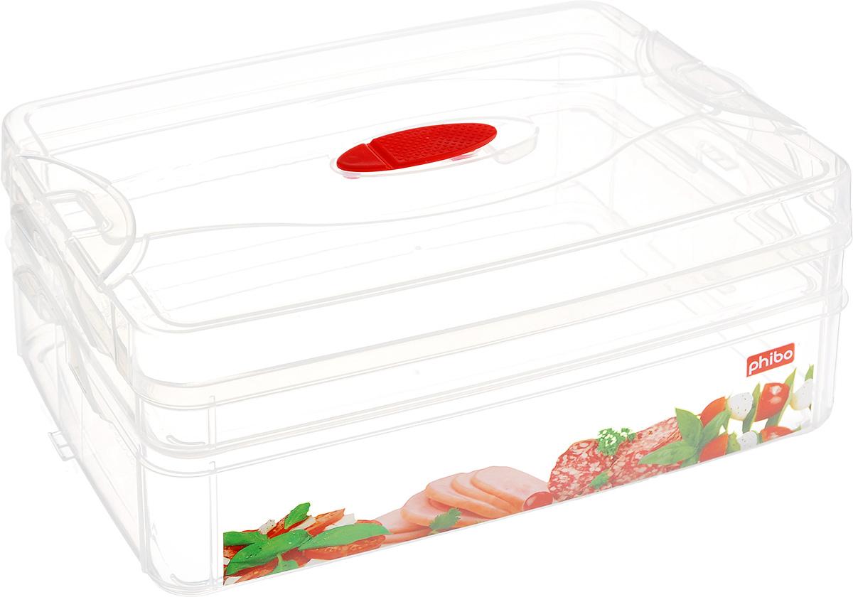 Контейнер для продуктов Phibo Smart System, 2 секции, с клапаном, 25 см х 16 см х 10,5 см. С12332С12332_колбасаКонтейнер Phibo Smart System изготовлен из высококачественного пластика, не содержит Бисфенол А. Предназначен для хранения продуктов. Изделие декорировано ярким рисунком овощей. Контейнер легко открывается, оснащен двумя съемными отделениями и клапаном на крышке. Не требует особого ухода.Контейнер Phibo Smart System - отличное решение для хранения продуктов.Размер маленького отделения (без крышки): 24 см х 15,5 см х 3 см.Объем маленького отделения: 1 л. Размер большого отделения: 24 см х 15,5 см х 6 см. Объем большого отделения: 2 л.