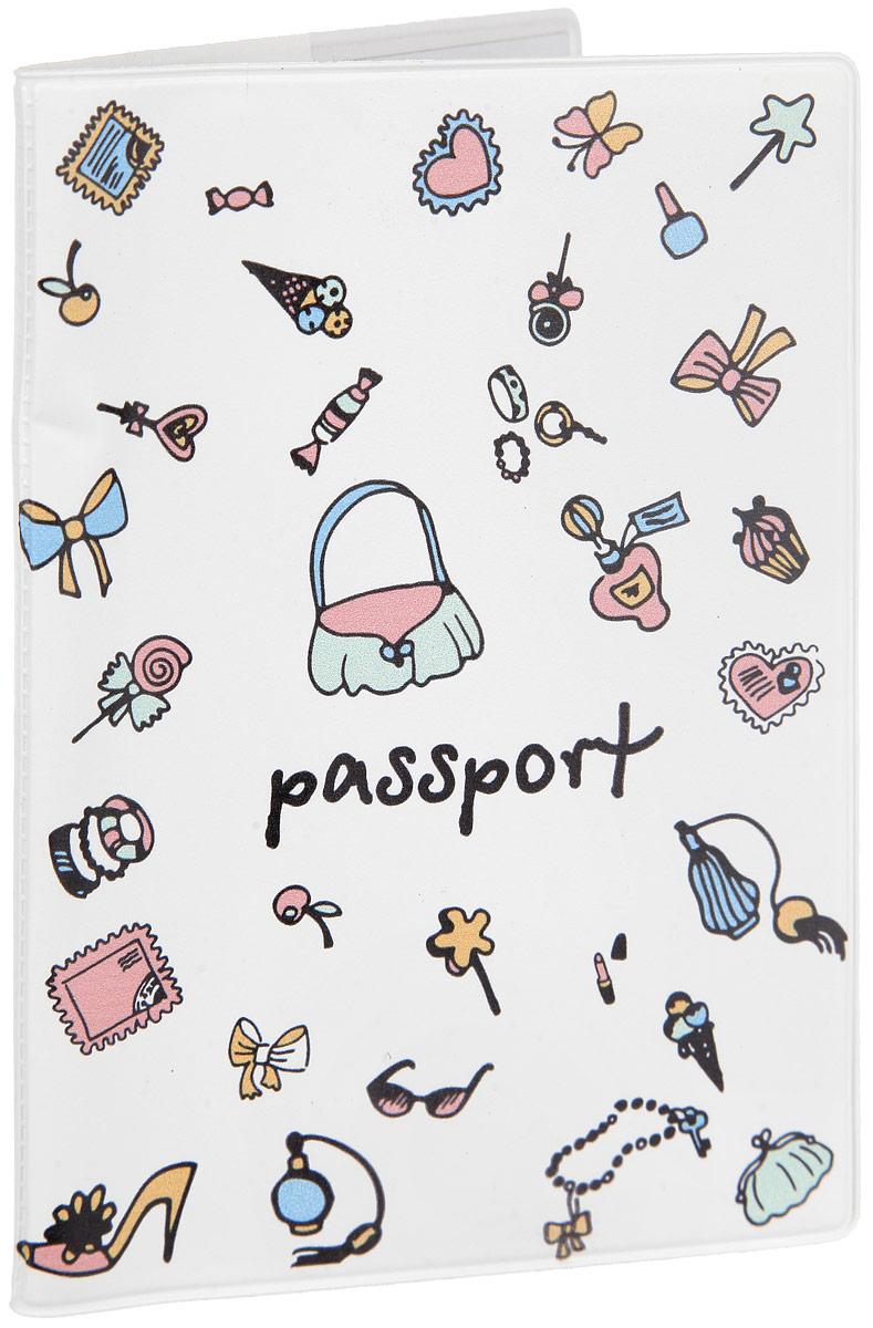 Обложка для документов Феникс-презент Дамские штучки, цвет: белый. 29052383549Оригинальная обложка для паспорта выполнена из поливинилхлорида и оформлена ярким принтом с изображением дамских мелочей.Обложка для документов позволит сохранить от повреждений ваш паспорт, а также поможет поднять настроение благодаря яркому и оригинальному принту.