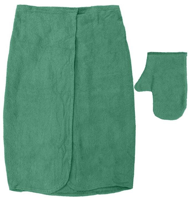 Махровый комплект для мужчин Банные штучки, цвет: зеленый, 2 предмета531-301Махровый комплект для мужчин Банные штучки состоит из специальной накидки и рукавицы. Благодаря резинке накидка имеет универсальный размер, застегивается на липучку. Ее также можно использовать в качестве подстилки на лавку или как полотенце. Махровая ткань быстро впитывает влагу, обеспечивая комфорт во время использования. Специальная рукавица защитит ваши руки от ожогов во время нахождения в парилке, может использоваться как мочалка. Комплект идеален для бани, сауны, spa, хамама. Размер накидки: 140 см х 60 см. Размер рукавицы: 28 см х 21 см.