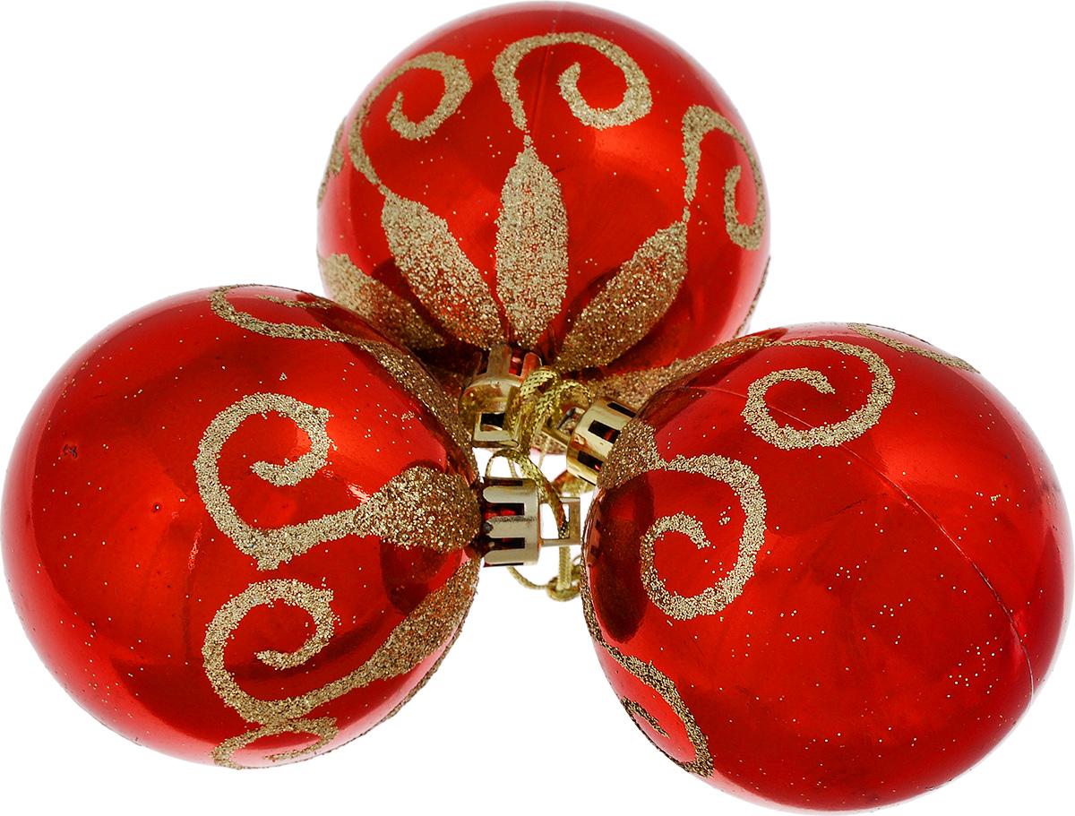 """Набор новогодних подвесных украшений """"EuroHouse"""", цвет: красный, золотистый, диаметр 6 см, 3 шт"""