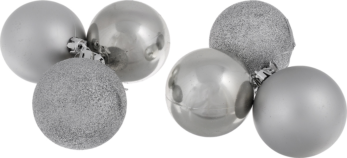 """Набор новогодних подвесных украшений EuroHouse """"Everyday Holiday"""", цвет: серебристый, диаметр 7 см, 6 шт"""
