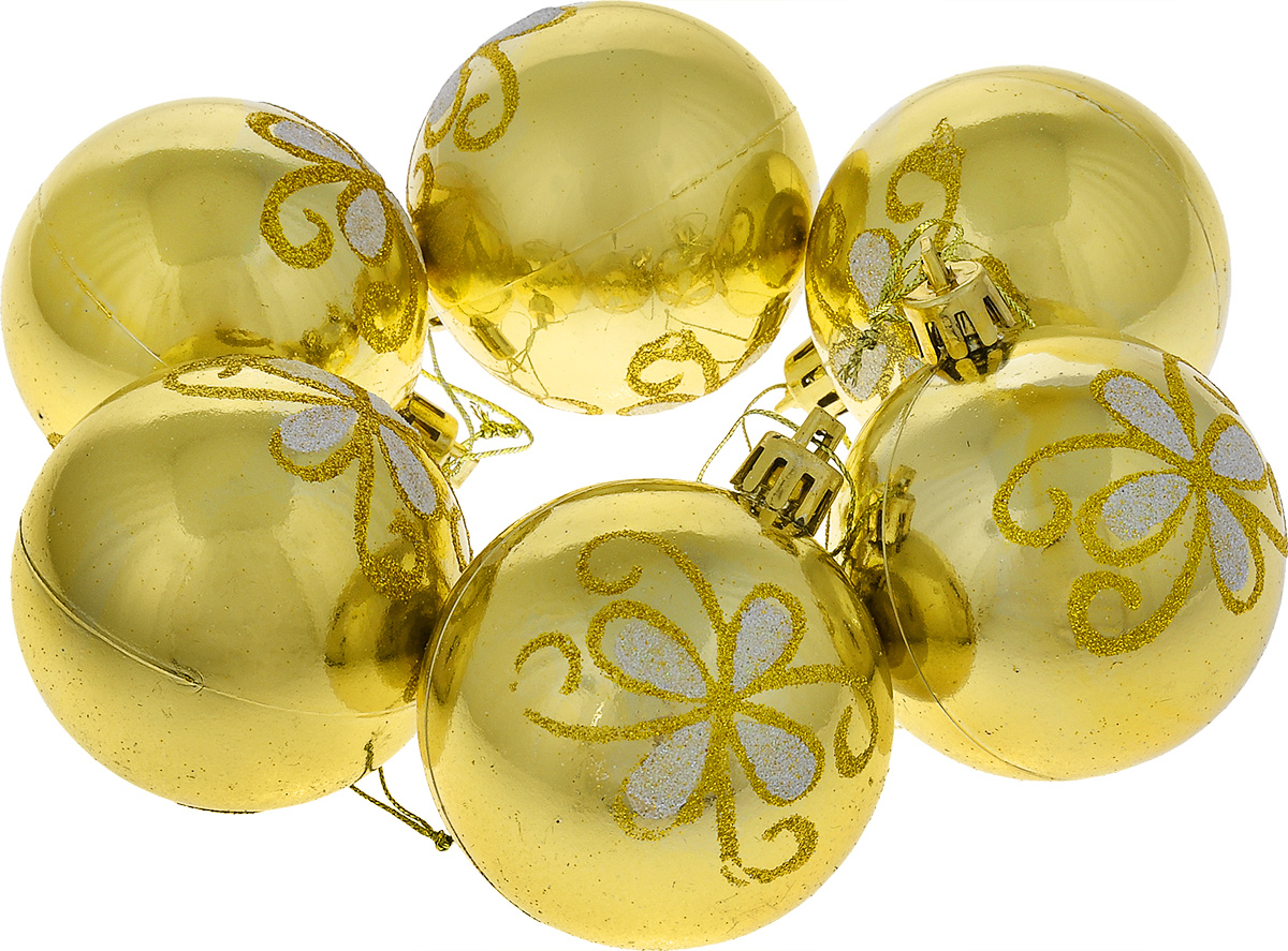 Набор новогодних подвесных украшений EuroHouse Everyday Holiday, цвет: золотистый, диаметр 6 см, 6 шт06008A7401Набор подвесных украшений EuroHouse Everyday Holiday прекрасно подойдет для праздничного декора новогодней ели. Набор состоит из шести пластиковых украшений в виде шаров, декорированных изображениями цветов из блесток. Для удобного размещения на елке для каждого изделия предусмотрена текстильная ниточка. Елочная игрушка - символ Нового года. Она несет в себе волшебство и красоту праздника. Создайте в своем доме атмосферу веселья и радости, украшая новогоднюю елку нарядными игрушками, которые будут из года в год накапливать теплоту воспоминаний.