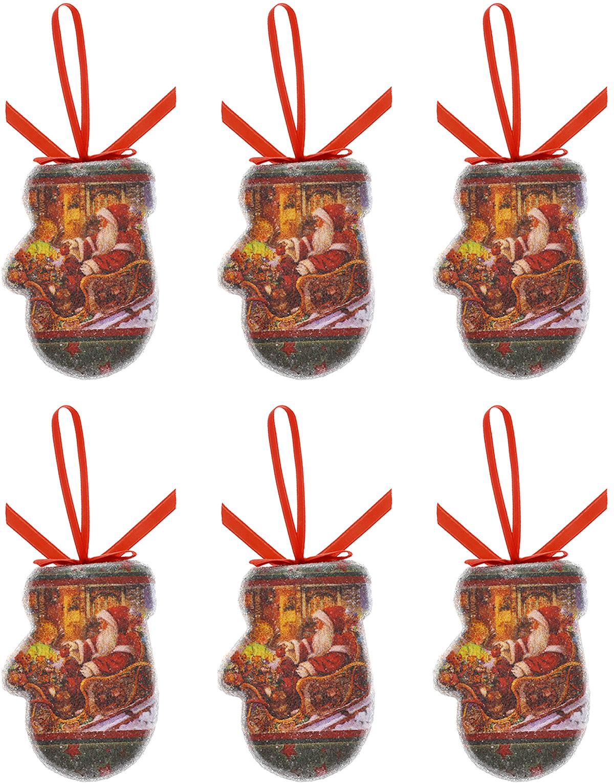 Набор новогодних подвесных украшений Феникс-Презент Варежки, 6 шт34362Набор подвесных украшений Феникс-Презент Варежки прекрасно подойдет для праздничного декора новогодней ели. Набор состоит из 6 пластиковых украшений в виде варежек, декорированных изображением Деда Мороза в санях. Для удобного размещения на елке для каждого украшения предусмотрена текстильная петелька.Елочная игрушка - символ Нового года. Она несет в себе волшебство и красоту праздника. Создайте в своем доме атмосферу веселья и радости, украшая новогоднюю елку нарядными игрушками, которые будут из года в год накапливать теплоту воспоминаний. Откройте для себя удивительный мир сказок и грез. Почувствуйте волшебные минуты ожидания праздника, создайте новогоднее настроение вашим дорогим и близким.