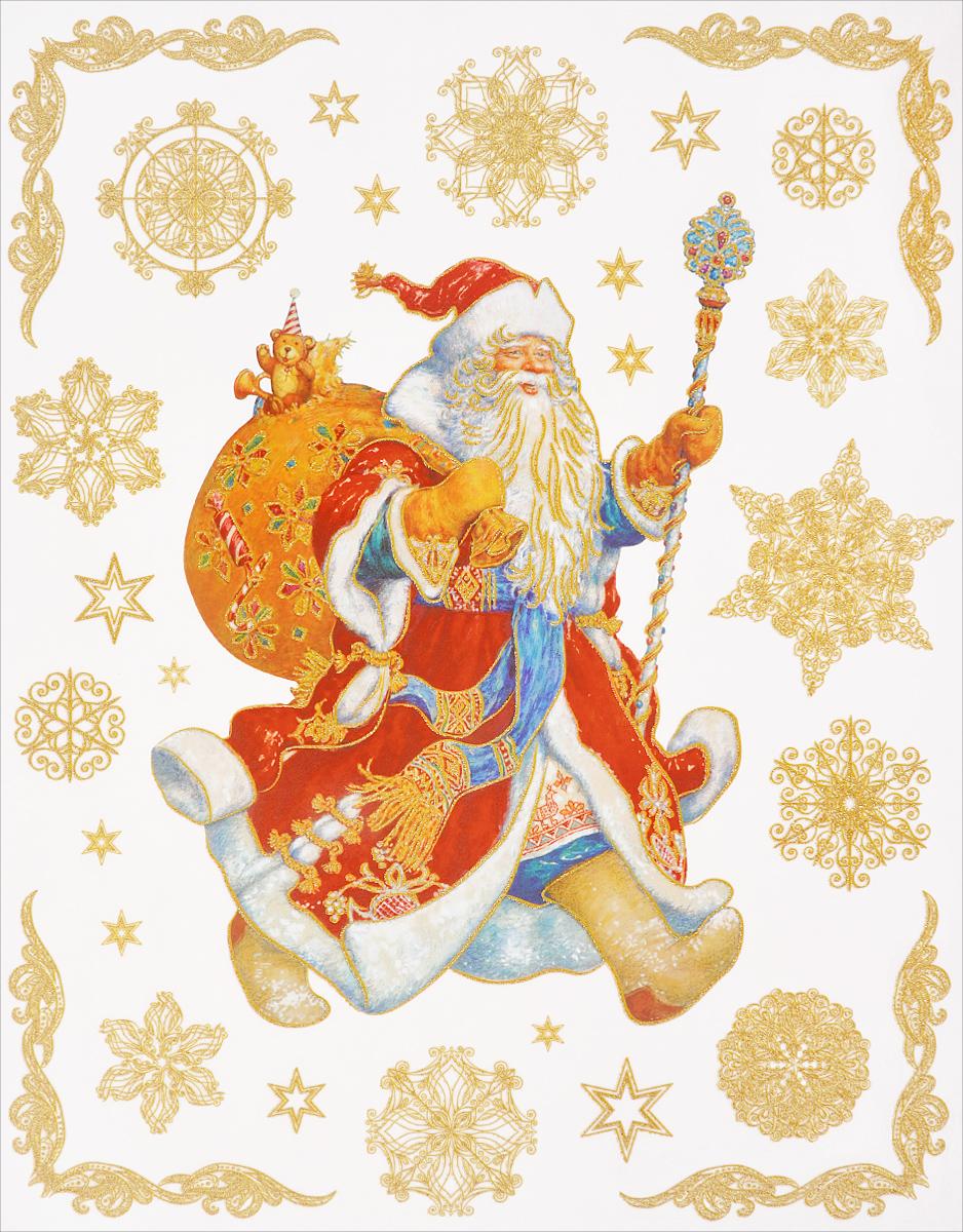 Новогоднее оконное украшение Феникс-Презент Дед Мороз с мешком подарковK100Новогоднее оконное украшение Феникс-Презент Дед Мороз с мешком подарков поможет украсить дом к предстоящим праздникам. На одном листе расположены наклейки в виде Деда Мороза, снежинок и звездочек, декорированные блестками. Наклейки изготовлены из ПВХ. С помощью этих украшений вы сможете оживить интерьер по своему вкусу, наклеить их на окно, на зеркало.Новогодние украшения всегда несут в себе волшебство и красоту праздника. Создайте в своем доме атмосферу тепла, веселья и радости, украшая его всей семьей. Размер листа: 30 см х 38 см. Размер самой большой наклейки: 25,5 см х 18,5 см. Размер самой маленькой наклейки: 1,4 см х 1,4 см.