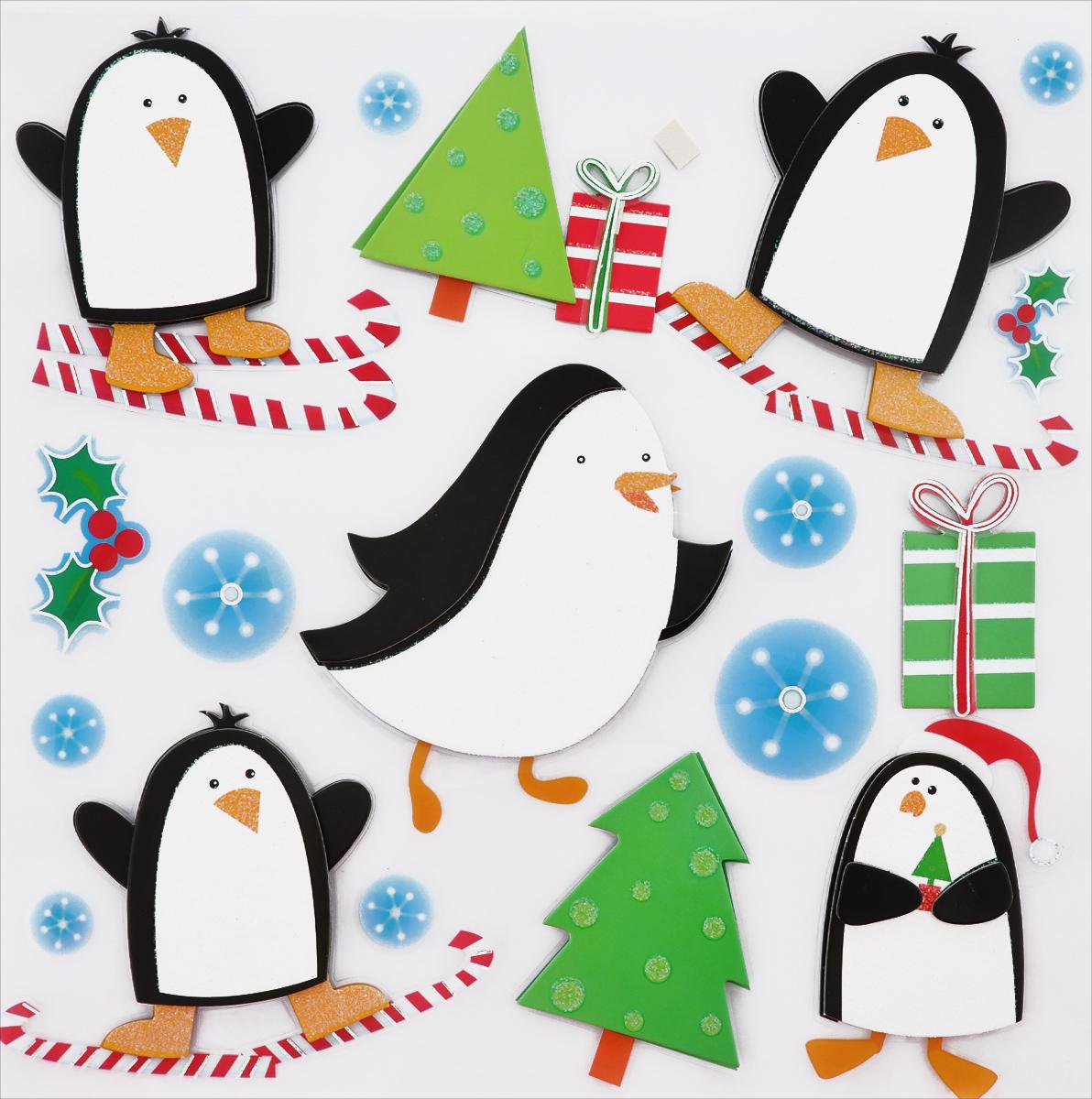 Наклейки декоративные 3D EuroHouse Пингвины, 18 шт300250_Россия, коричневый3D наклейки EuroHouse Пингвины, изготовленные из ПВХ, прекрасно подойдут для оформления творческих работ в технике скрапбукинг. Их можно использовать для украшения фотоальбомов, скрап-страничек, подарков, конвертов, фоторамок, открыток и многого другого. Объемные наклейки выполнены в новогодней тематике. Задняя сторона клейкая. В наборе - 18 наклеек разного размера. Количество наклеек: 18 шт.Размер самой большой наклейки: 11 см х 10,5 см.Диаметр самой маленькой наклейки: 1,5 см.