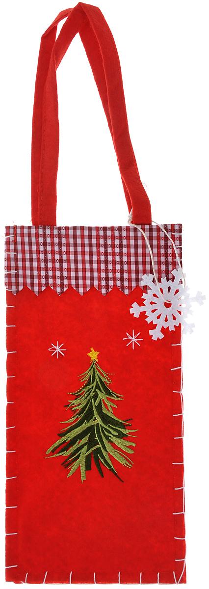 Новогодний мешочек для подарка Феникс-презент Праздничная елочка, цвет: красный, зеленый, белый, 14 см х 28,5 смNLED-454-9W-BKНовогодний мешочек для подарка Феникс-презент Праздничная елочка, выполненный из синтетического фетра, оформлен изображением елочки. Для удобства переноски можно использовать ручки.Подарок, преподнесенный в оригинальной упаковке, всегда будет самым эффектным и запоминающимся. Окружите близких людей вниманием и заботой, вручив презент в нарядном, праздничном оформлении.