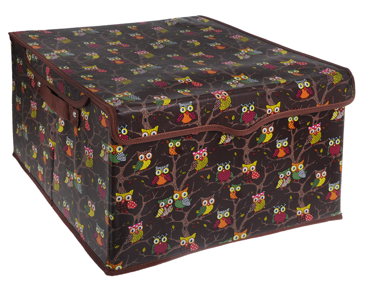 Кофр для хранения El Casa Совы, цвет: коричневый, 41 см х 36 см х 26 см12723Кофр для хранения El Casa Совы - компактное и красивое решение для хранения вещей дома или на даче. Кофр имеет жесткий каркас из МДФ, выполнен из экокожи с красивым принтом в виде сов. Снабжен крышкой, которая закрывается на липучку. Две ручки по бокам - для комфортной переноски. В таком кофре можно хранить всевозможные предметы: книги, игрушки, рукоделие. Яркий запоминающий дизайн кофра привнесет в ваш интерьер неповторимый шарм.