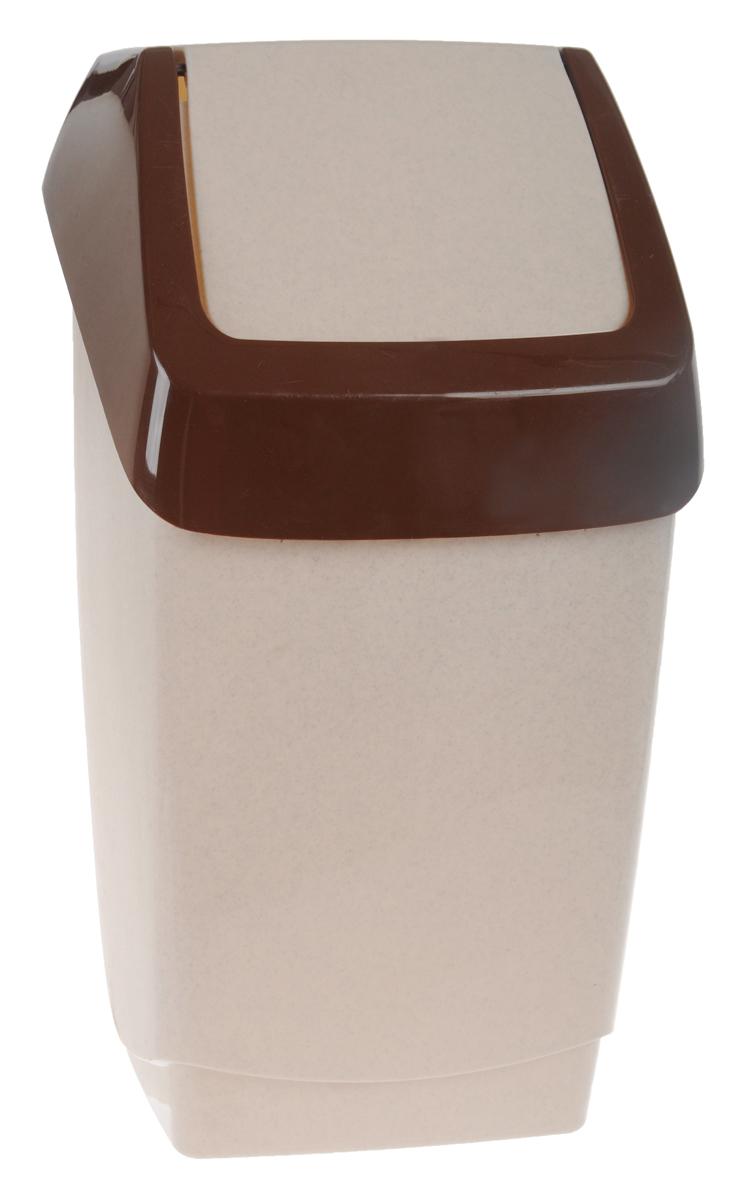 Контейнер для мусора Idea Хапс, цвет: коричневый мрамор, 15 л531-105Контейнер для мусора Idea Хапс изготовлен из прочного полипропилена (пластика). Контейнер снабжен удобной съемной крышкой с подвижной перегородкой. Благодаря лаконичному дизайну такой контейнер идеально впишется в интерьер и дома, и офиса.