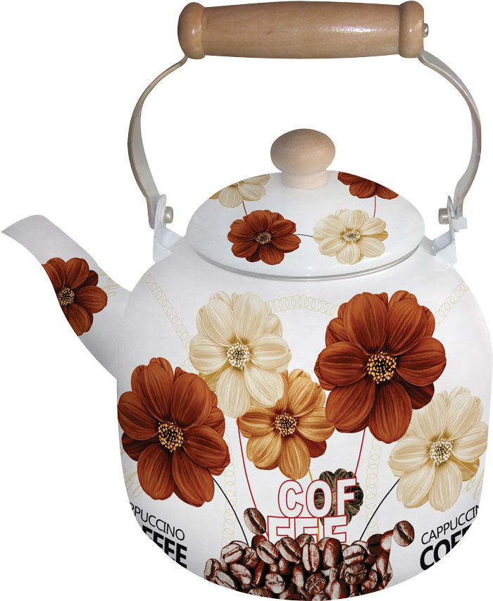 Чайник эмалированный Bohmann, цвет: коричневый, бежевый, белый, 7 л. 8137BHNEW_38137BHNEW_3Эмалированный чайник Bohmann с цветочным декором станет отличным дополнением к интерьеру вашей кухни. Чайник имеет не нагревающуюся ручку.Объем 7 л. Подходит для индукционной плиты. Можно мыть в посудомоечной машине.