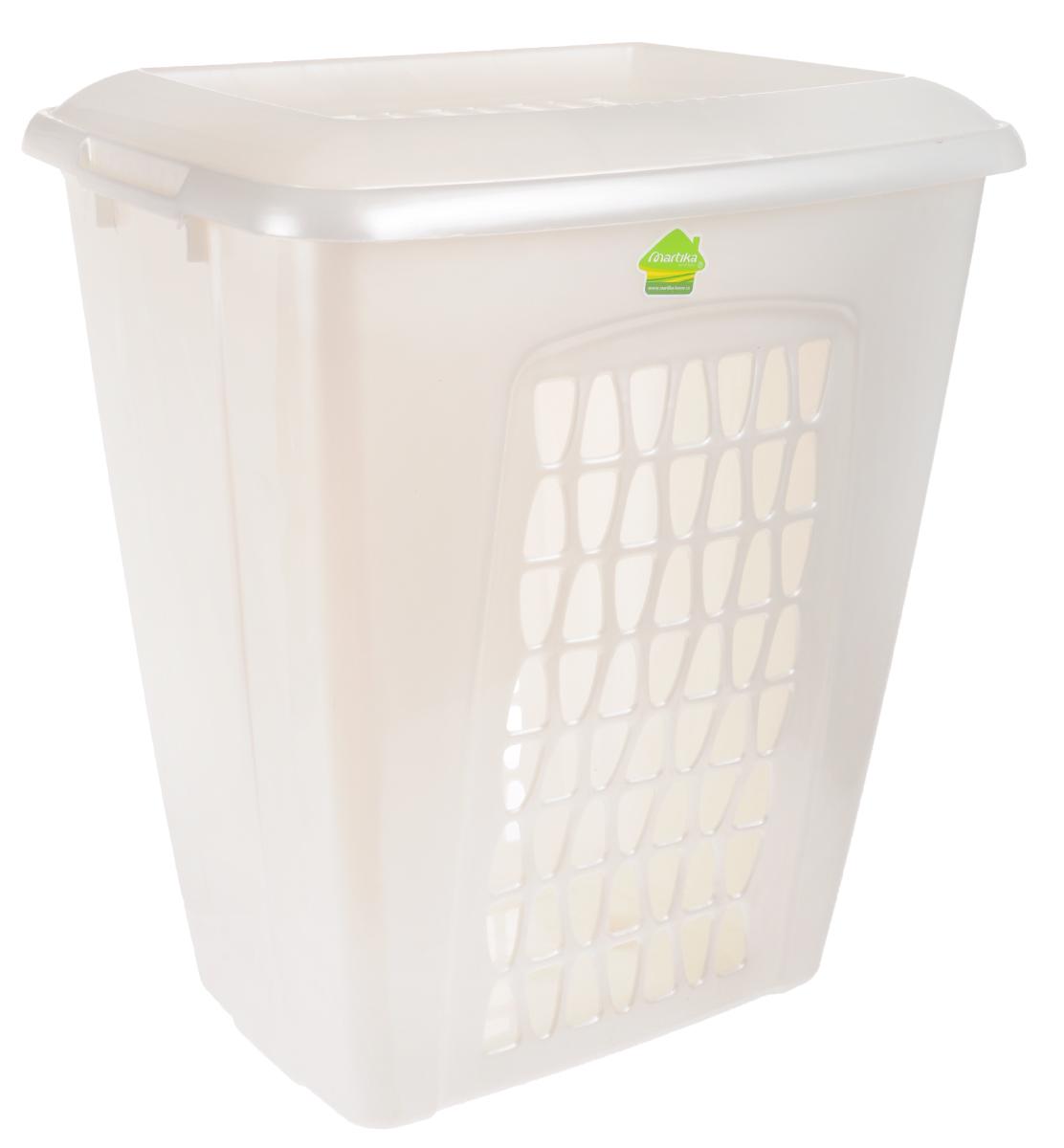 Корзина для белья Martika Моллета, цвет: перламутрово-белый, 45 л97678Корзина для белья Martika Моллета, изготовленная из прочного полипропилена, пропускает воздух, устойчива к перепадам температур и влажности, поэтому идеально подходит для ванной комнаты. Изделие оснащено боковыми ручками и крышкой. Можно использовать для хранения белья, детских игрушек, домашней обуви и прочих бытовых вещей. Элегантный дизайн подойдет к интерьеру любой ванной.