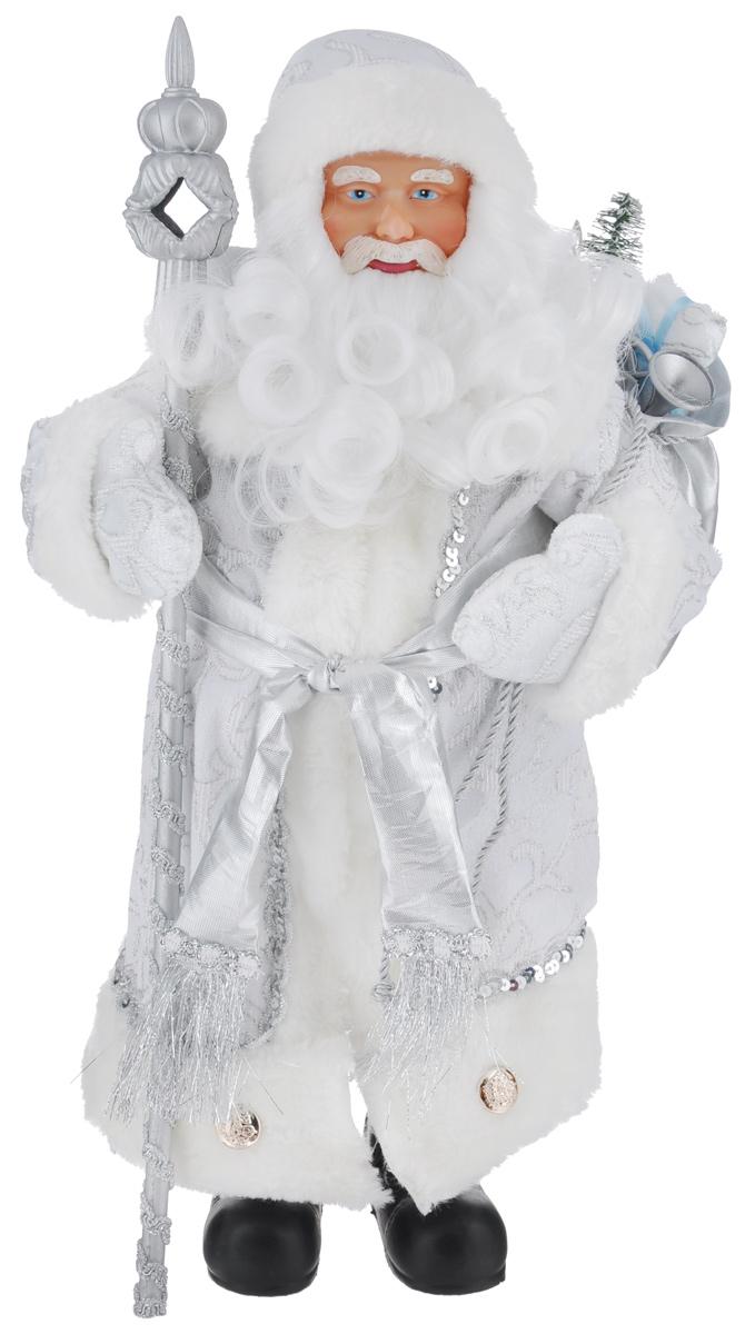 Новогодняя декоративная фигурка Феникс-презент Дед Мороз в костюме, высота 41 см1501-0192Декоративная фигурка Феникс-презент Дед Мороз в костюме изготовлена из пластика итекстиля. Она подойдет для оформления новогоднего интерьера и принесет с собой атмосферурадости и веселья. Дед Мороз одет в белые брюки и длинную шубу с красивыми узорами, подвязанную поясом скисточками. На голове - шапка с мехом, на ногах - черные башмачки. В руках он держит посох имешок с подарками. Его добрый вид и очаровательная борода притягивают к себе восторженныевзгляды.Коллекция декоративных украшений из серии Magic Time принесет в ваш дом ни с чем несравнимое ощущение волшебства!