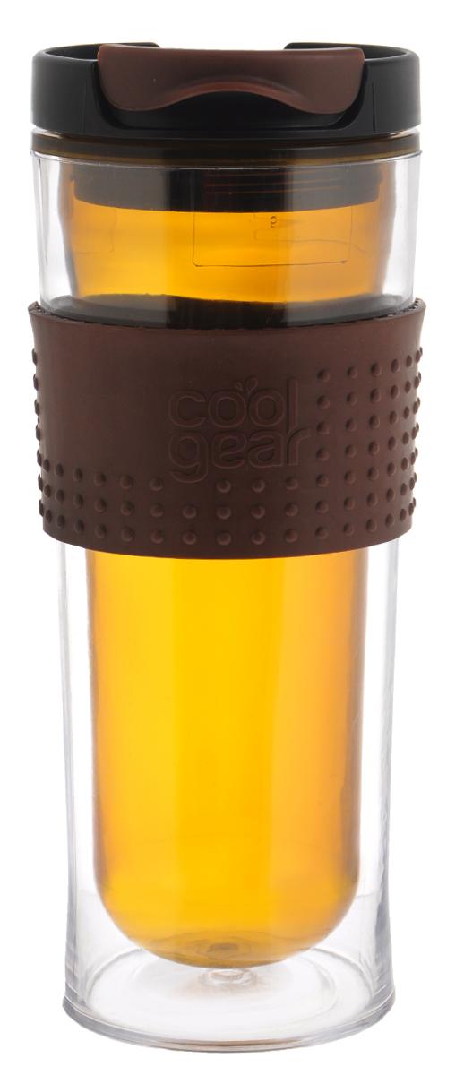 Кружка дорожная Cool Gear Eco 2 Go для горячих напитков, цвет: коричневый, черный, 420 мл. 128067742Кружка дорожная Cool Gear Eco 2 Go для горячих напитков, цвет: коричневый, черный, 420 мл. 1280