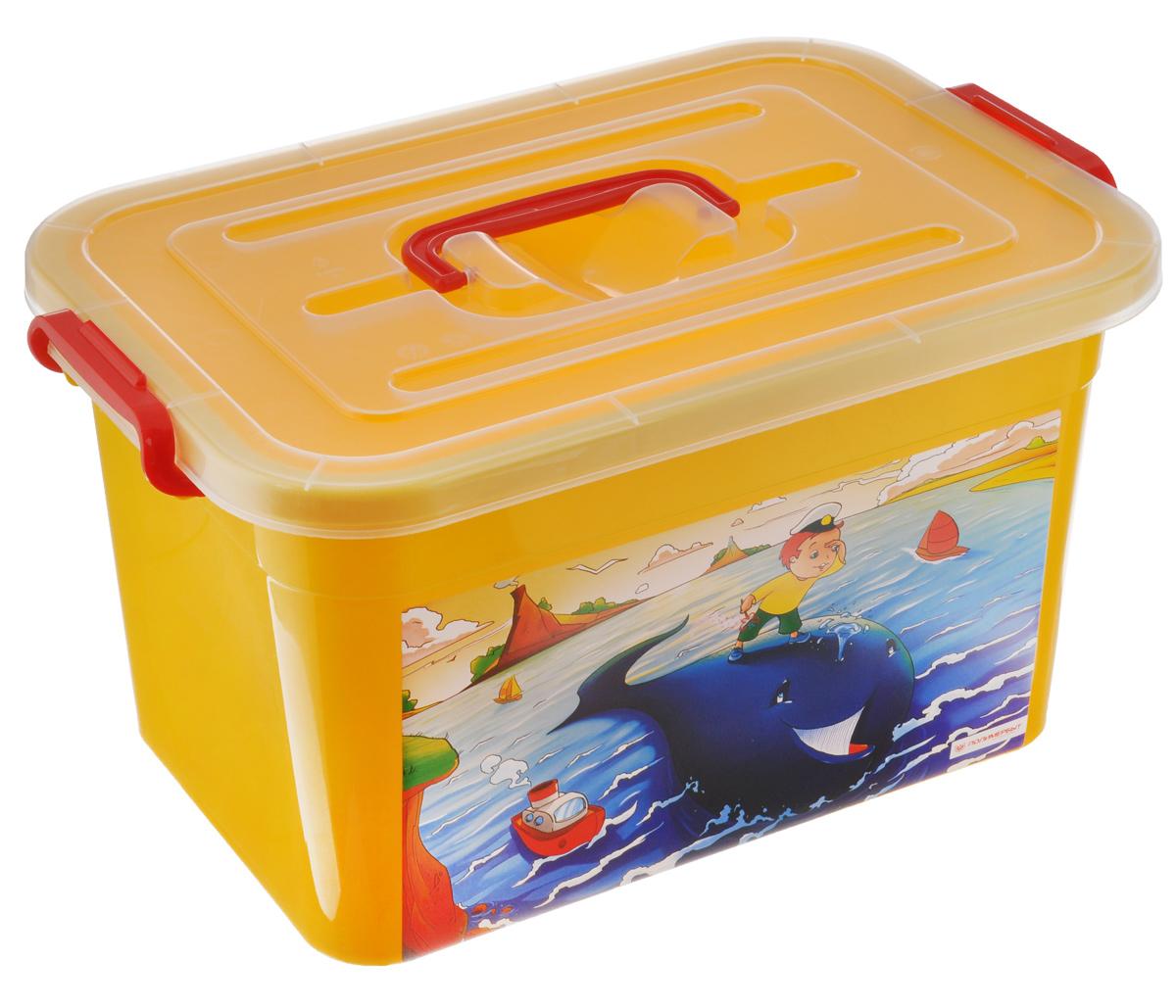 Ящик для игрушек Полимербыт Радуга, цвет: желтый, 10 л. С81001LA1018GRЯщик для игрушек Полимербыт Радуга, выполненный из высококачественного цветного пластика, декорирован красочным изображением. Для удобства переноски сверху имеется ручка. Изделие плотно закрывается крышкой с защелками. Ящик для игрушек Полимербыт Радуга очень вместителен и поможет вам хранить все необходимое в одном месте.