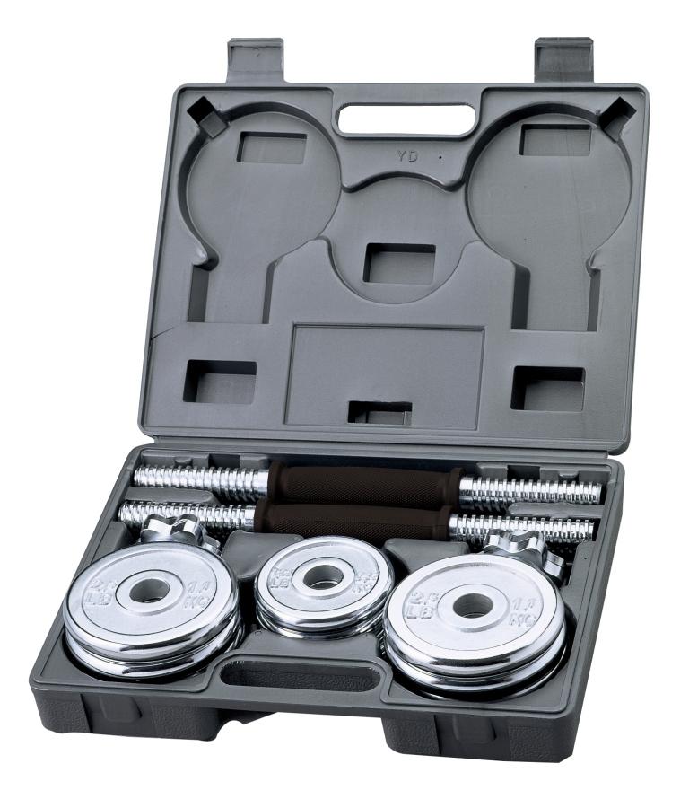Гантели хромированные с регулируемым весом, 15кг, BW-7915BW-7915Основные характеристикиОбщий вес: 15кгТип: сборно-разборнаяВ комплекте:Гриф гантельный: 2штДлина: 35,56смДиаметр: 25,4ммЗамок: гайка Вейдера с резьбой (сталь) Материал: высокопрочная сталь, хромированныйМатериал рукояти: хром, покрытый высокопрочным пластиком с противоскользящей насечкой (не вращающаяся)Вес грифа: 1,8кгДиски: 1,14кг - 8шт; 0,57кг - 4штТип: хромированныеПосадочный диаметр: 26ммМатериал: хромированная стальВид применения: домашнее использованиеСтрана-производитель: КитайНабор поставляется в комплекте с пластиковым кейсом для удобства хранения и переноски.Из данного набора можно собрать две гантели весом по 7.5кг каждая.