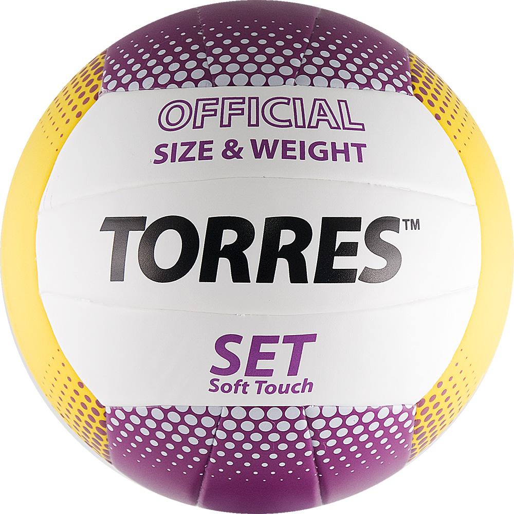 Мяч волейбольный Torres Set цвет: белый, фиолетовый, желтый. Размер 5. V30045V30045Клееный волейбольный мяч подходит для любительской игры в зале с покрытием из паркета.Камера мяча выполнена из бутила, а покрышка из термопластичного полимера. Мяч состоит из 18 склеенных панелей.