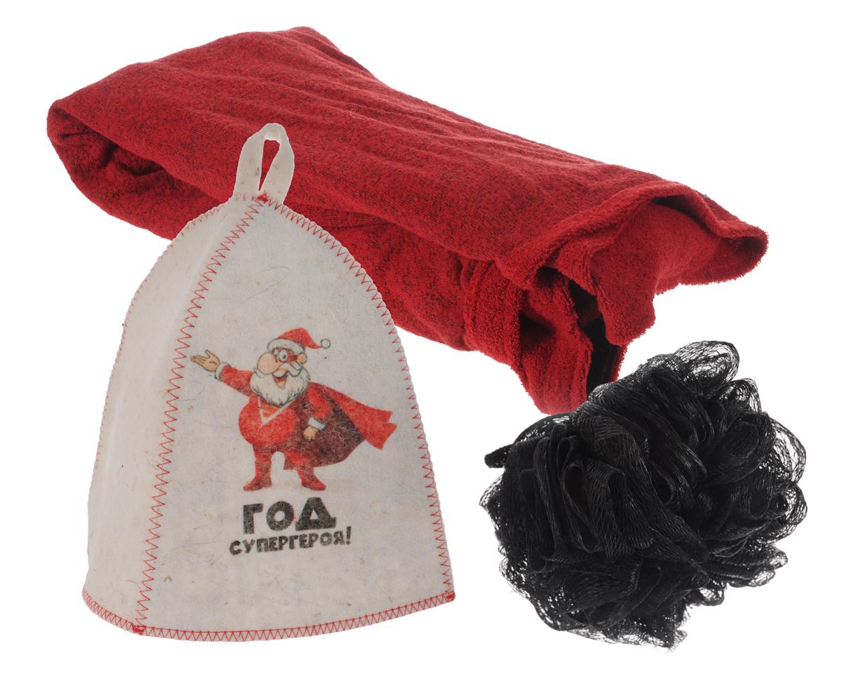 Набор подарочный для бани и сауны Год супергероя!, 3 предмета391602В подарочный набор для бани и сауны Год супергероя! входят шапка, мочалка и килт. Шапка, изготовленная из войлока, декорирована изображением забавного Деда Мороза и оснащена петелькой для подвешивания. Благодаря сетчатой мочалке из нейлона вам обеспечено много пены. Килт, выполненный из хлопка, посажен на резинку и застегивается с помощью липучки. Его можно использовать как коврик для бани или полотенце.Такой набор поможет с удовольствием и пользой провести время в бане, а также станет чудесным подарком друзьям и знакомым, которые по достоинству его оценят при первом же использовании.Размер килта: 65 см х 63 см.Обхват головы шапки: 66 см.Высота шапки: 23 см.Диаметр мочалки: 13 см.