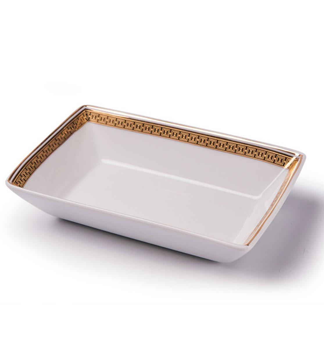 Kyoto 1555 Блюдо прямоугольное, Д13х 9 золото, цвет: белый с золотомVT-1520(SR)Блюдо прямоугольное 13 х 9 см Материал: фарфор: цвет: белый с золотомСерия: KYOTO