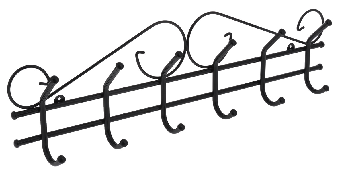 Вешалка настенная ЗМИ Ажур 6, цвет: черный, 6 крючковKBS-2Настенная вешалка ЗМИ Ажур 6 изготовлена из прочной стали с полимерным покрытием. Изделие оснащено 6 крючками для одежды. Вешалка крепится к стене при помощи двух шурупов (не входят в комплект).Вешалка ЗМИ Ажур 6 идеально подходит для маленьких прихожих и ограниченных пространств.