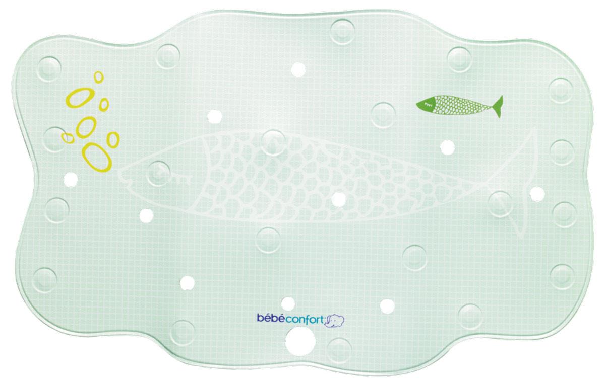 Bebe Confort Нескользящий коврик для ванны 70 см х 45 см цвет оливковыйS03301004Коврик для ванной Bebe Confort снизит риск подскальзывания и падения малыша во время водных процедур.Коврик выполнен из ПВХ имеет нескользящую поверхность и присоски. Встроенный термоиндикатор, меняющий цвет, заменит термометр и вовремя предупредит об изменении температуры воды. Коврик становится темно-синим при температуре воды 35 градусов, и меняет свой цвет, когда температура становится выше. А, кроме того, перфорация позволяет воде выходить из-под коврика, что еще надежней прикрепляет его к ванне.