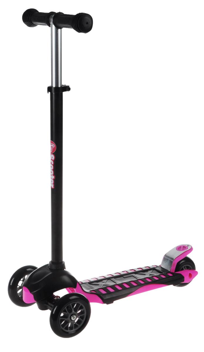 """Яркий трехколесный самокат """"Scooter"""" станет отличным подарком юному гонщику! Спереди самокат имеет два колеса для большей устойчивости. Стойка самоката регулируется по высоте. Ручки покрыты мягкими накладками из вспененного полимера, что позволяет избежать мозолей на ладонях. Заднее колесо оснащено тормозом. Полиуретановые колеса обеспечивают хорошее сцепление с дорогой. Катание на самокате - одно из любимых занятий детей. Оно приобретает большую популярность, поскольку не требует специальных навыков. Самокат дает возможность не только замечательно провести досуг, но и обеспечить определенное физическое развитие его владельцу. Порадуйте своего ребенка таким замечательным подарком! Толщина передних колес: 2,5 см. Толщина заднего колеса: 4 см."""