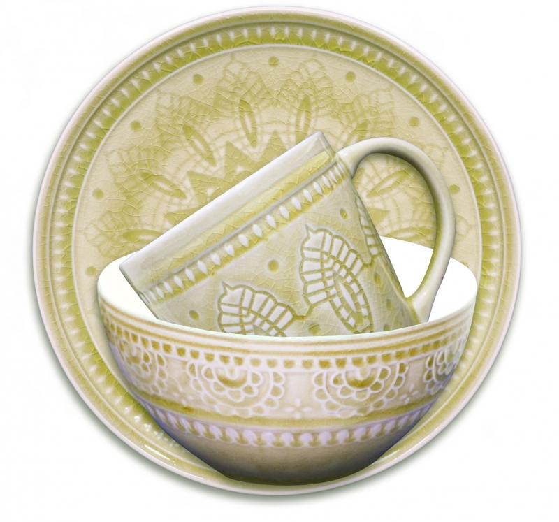 Набор подарочный, посуда столовая - 3 предмета, цвет: желтый,Тонго. S-03y TongoVT-1520(SR)НАБОР подарочный, посуда столовая - 3 предмета, Цвет: Желтый, материал: каменная керамика,Тонго, Индонезия