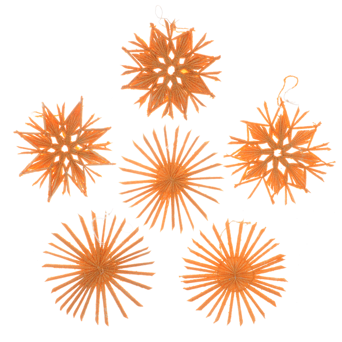 Набор новогодних подвесных украшений Феникс-презент Звезды, цвет: оранжевый, 6 шт38637Стильный набор Феникс-презент Звезды, состоящий из 6 новогодних подвесных украшений, отлично подойдет для декорации вашего дома и новогодней ели. Изделия выполнены из соломы в виде звездочек, оформленных блестками. Украшения имеют специальные петельки для подвешивания. Вы можете преподнести этот милый подарок с наилучшими пожеланиями счастья в предстоящем году.Новогодние украшения всегда несут в себе волшебство и красоту праздника. Создайте в своем доме атмосферу тепла, веселья и радости, украшая его всей семьей.