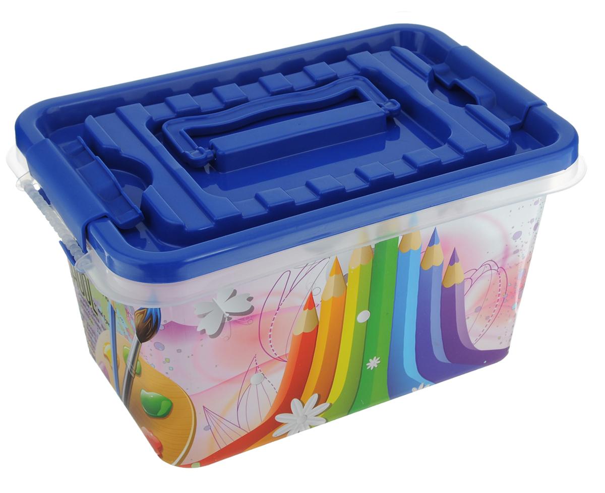 Контейнер для хранения Альтернатива, с защелкивающейся крышкой, цвет: синий, розовый, 4 л41619Контейнер Альтернатива выполнен из пластика. В нем удобно хранить различные бытовые вещи, в том числе школьные принадлежности или медикаменты. Контейнер плотно закрывается крышкой с двумя защелками. Для удобства переноски сверху имеется ручка. Объем: 4 л.