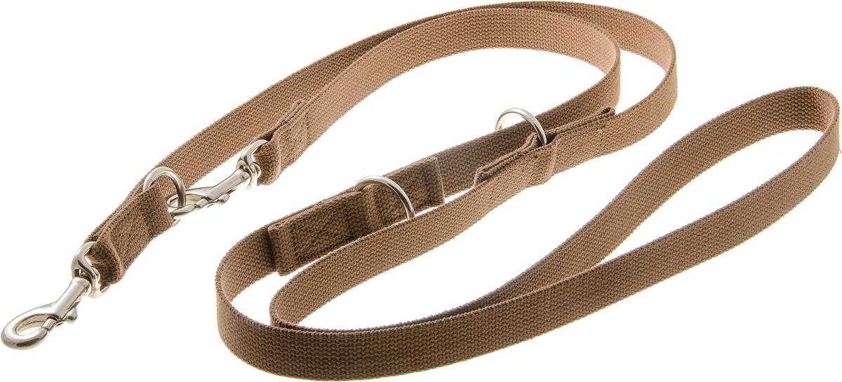 Поводок-перестежка для собак V.I.Pet, цвет: коричневый, ширина 25 мм, длина 2,6 м. 71-28320120710Особая амуниция, объединяющая в себе функции поводка трех длин, поводка через плечо и сворки. Предназначен для дрессировки собак, а также для повседневного использования, прогулок и вождения двух собак одновременно. Подойдет для сильных и активных собак. Лёгкий и практичный. Материал: брезент, сталь.Ширина: 25 мм.Длина: 2,6 м.