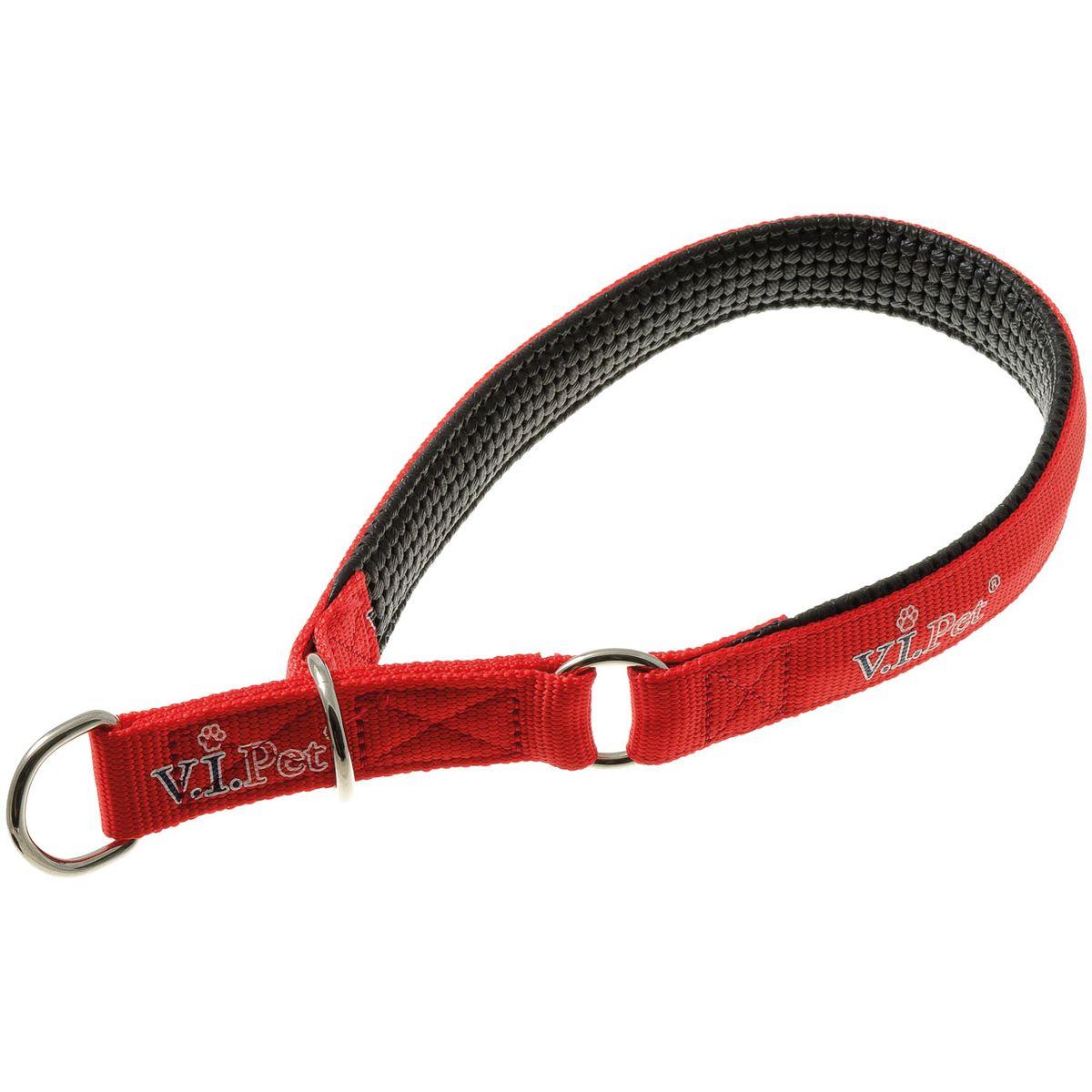 Ошейник для собак V.I.Pet, цвет: красный, ширина 25 мм, длина 50-60 см0120710Ошейник V.I.Pet выполнен из высококачественного нейлона, который легко стирается и быстро сохнет, долго сохраняет яркие цвета и не красит шерсть, даже во время водных процедур. Имеет неопреновую подкладку, все швы аккуратно обработаны, что особенно оценят собаки с нежной кожей. Ошейник надежно и бережно удержит любую собаку. Вся используемая фурнитура - сварная.