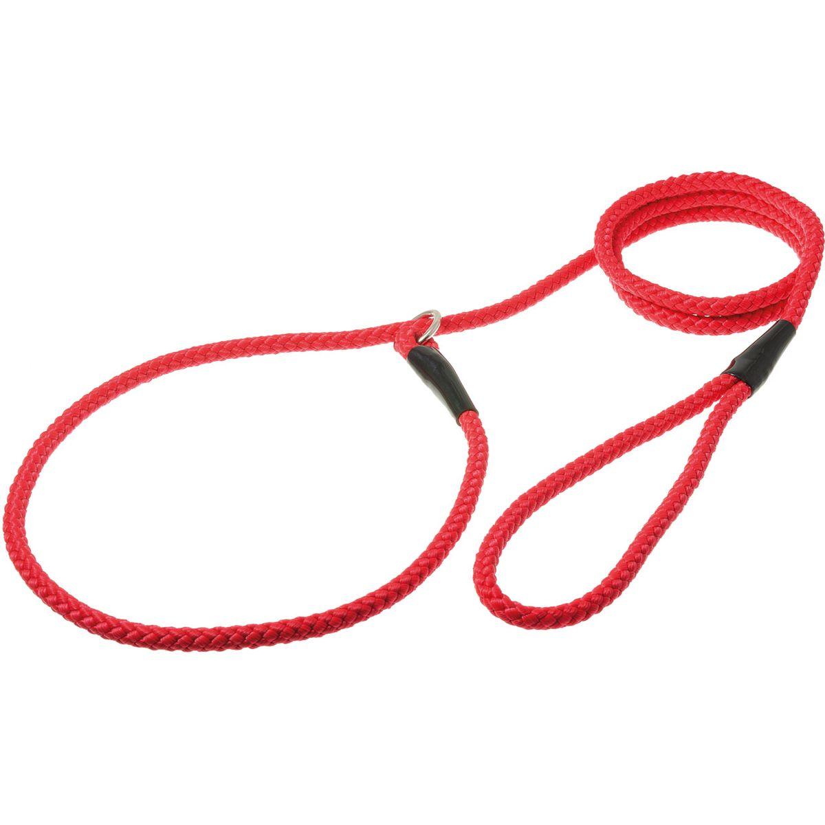 Поводок для собак V.I.Pet, цвет: красный, диаметр 8 мм, длина 1,7 м0120710Поводок-удавка V.I.Pet состоит из петли с фиксатором и, собственно, поводка. Является самым распространенным видом выставочной амуниции. Подходит также для повседневного использования.