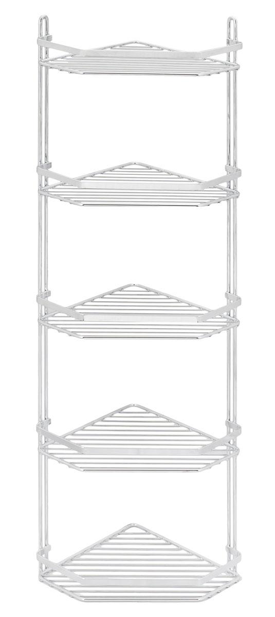 Полка подвесная Duschy Modern, 5-ярусная, угловая078-00Подвесная полка Duschy Modern выполненная из стали и покрытая специальным, влагозащитным полимерным покрытием, сэкономит место в ванной комнате. Полка подвешивается с помощью 2-х саморезов (входят в комплект).Она пригодится для хранения различных принадлежностей, которые всегда будут под рукой.Благодаря компактным размерам полка впишется в интерьер вашего дома и позволит вам удобно и практично хранить предметы домашнего обихода. Размер яруса: 27 х 20 х 4 см. Размер: 27 х 20 х 87 см.