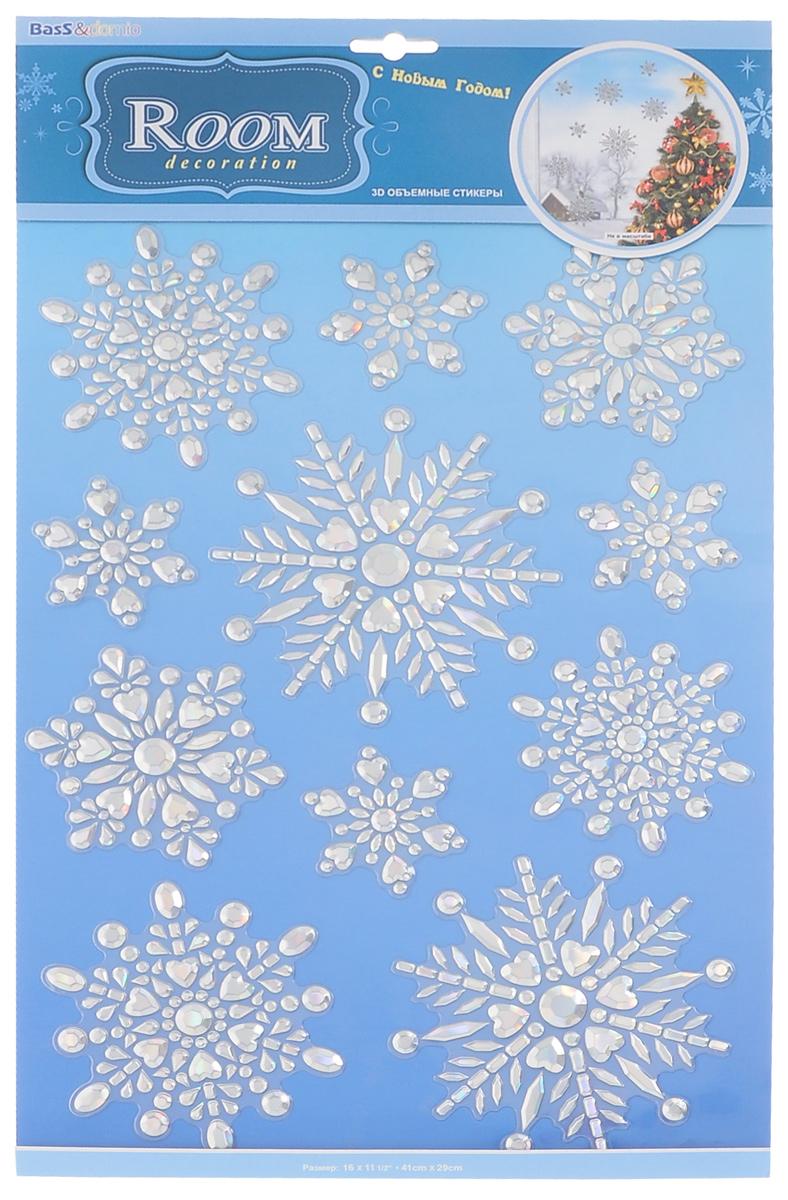 Наклейки для интерьера Room Decoration Мерцающие снежинки, объемные. POX5202TEMP-05Наклейки для стен и предметов интерьера Room Decoration Мерцающие снежинки,изготовленные из самоклеящейся виниловой пленки, помогут украсить дом к предстоящимпраздникам. Наклейки дадут вам вдохновение, которое изменит вашу жизнь и поможет погрузиться в мирярких красок, фантазий и творчества. Для вас открываются безграничные возможностипридумать оригинальный дизайн и придать новый вид стенам и мебели. Наклейки абсолютнобезопасны для здоровья. Они быстро и легко наклеиваются на любые ровные поверхности:стены, окна, двери, стекла, мебель. При необходимости удобно снимаются, не оставляют следов.Наклейки Room Decoration Мерцающие снежинки помогут вам изменитьинтерьер вокруг себя: в детской комнате и гостиной, на кухне и в прихожей, витрину кафе имагазина, детский садик и офис.Размер листа: 29 см х 41 см.Количество наклеек на листе: 11 шт.Размер самой большой наклейки: 13,5 см х 13,5 см.Размер самой маленькой наклейки: 7 см х 7 см.