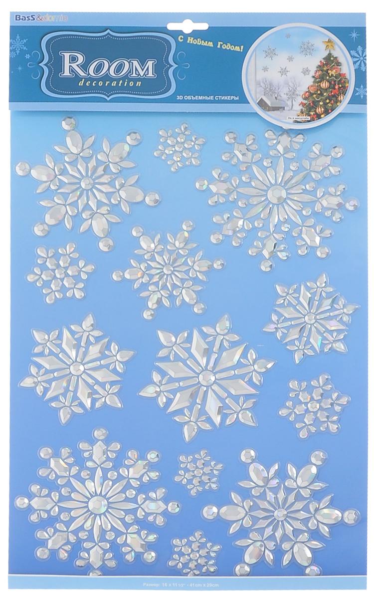 Наклейки для интерьера Room Decoration Мерцающие снежинки, объемные1278-BLНаклейки для стен и предметов интерьера Room Decoration Мерцающие снежинки, изготовленные из самоклеящейся виниловой пленки, помогут украсить дом к предстоящим праздникам. Наклейки дадут вам вдохновение, которое изменит вашу жизнь и поможет погрузиться в мир ярких красок, фантазий и творчества. Для вас открываются безграничные возможности придумать оригинальный дизайн и придать новый вид стенам и мебели. Наклейки абсолютно безопасны для здоровья. Они быстро и легко наклеиваются на любые ровные поверхности: стены, окна, двери, стекла, мебель. При необходимости удобно снимаются, не оставляют следов. Наклейки Room Decoration Мерцающие снежинки помогут вам изменить интерьер вокруг себя: в детской комнате и гостиной, на кухне и в прихожей, витрину кафе и магазина, детский садик и офис.Размер листа: 29 см х 41 см.Количество наклеек на листе: 13 шт.Размер самой большой наклейки: 13,5 см х 13,5 см.Размер самой маленькой наклейки: 4,5 см х 4,5 см.