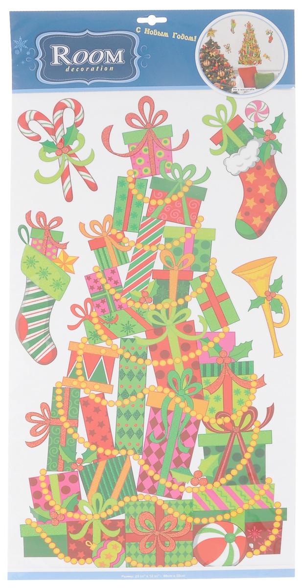 Новогоднее оконное украшение Room Decoration Елка из подарков300074_гранатНовогоднее оконное украшение Room Decoration Елка из подарков поможет украсить дом кпредстоящим праздникам. Наклейки изготовлены из тонкой самоклеящейся виниловой пленки идекорированы блестками. С помощью этих украшений высможете оживить интерьер по своемувкусу: наклеить их на окно, на зеркало.Новогодние украшения всегда несут в себе волшебство и красоту праздника. Создайте в своемдоме атмосферутепла, веселья и радости, украшая его всей семьей.Размер листа: 32 см х 69 см.Количество наклеек на листе: 5 шт.Размер самой большой наклейки: 30 см х 58 см.Размер самой маленькой наклейки: 6,5 см х 12,5 см.