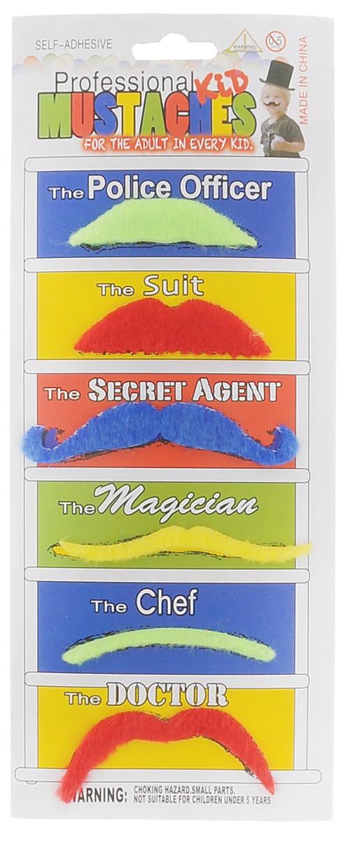 """Маскарадные усы """"Феникс-Презент"""", цвет: салатовый, синий, красный, 6 шт"""