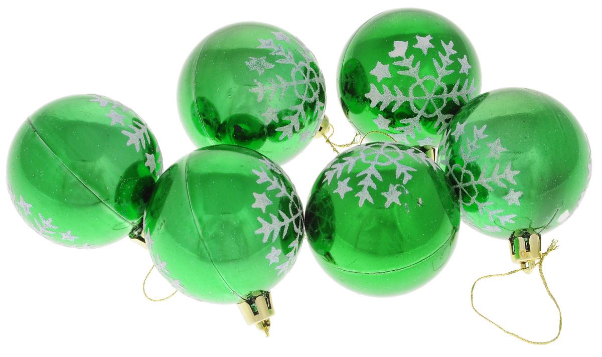 Набор новогодних подвесных украшений Euro House, цвет: зеленый, серебристый, диаметр 6 см, 6 шт. ЕХ 922464518Набор новогодних подвесных украшений Euro House прекрасно подойдет для праздничного декора новогодней ели. Набор состоит из 6 пластиковых украшений в виде шаров, оформленных ярким рисунком снежинок и блестками. Для удобного размещения на елке для каждого украшения предусмотрена петелька, выполненная из текстиля.Елочная игрушка - символ Нового года. Она несет в себе волшебство и красоту праздника. Создайте в своем доме атмосферу веселья и радости, украшая новогоднюю елку нарядными игрушками, которые будут из года в год накапливать теплоту воспоминаний. Откройте для себя удивительный мир сказок и грез.Почувствуйте волшебные минуты ожидания праздника, создайте новогоднее настроение вашим дорогим и близким.