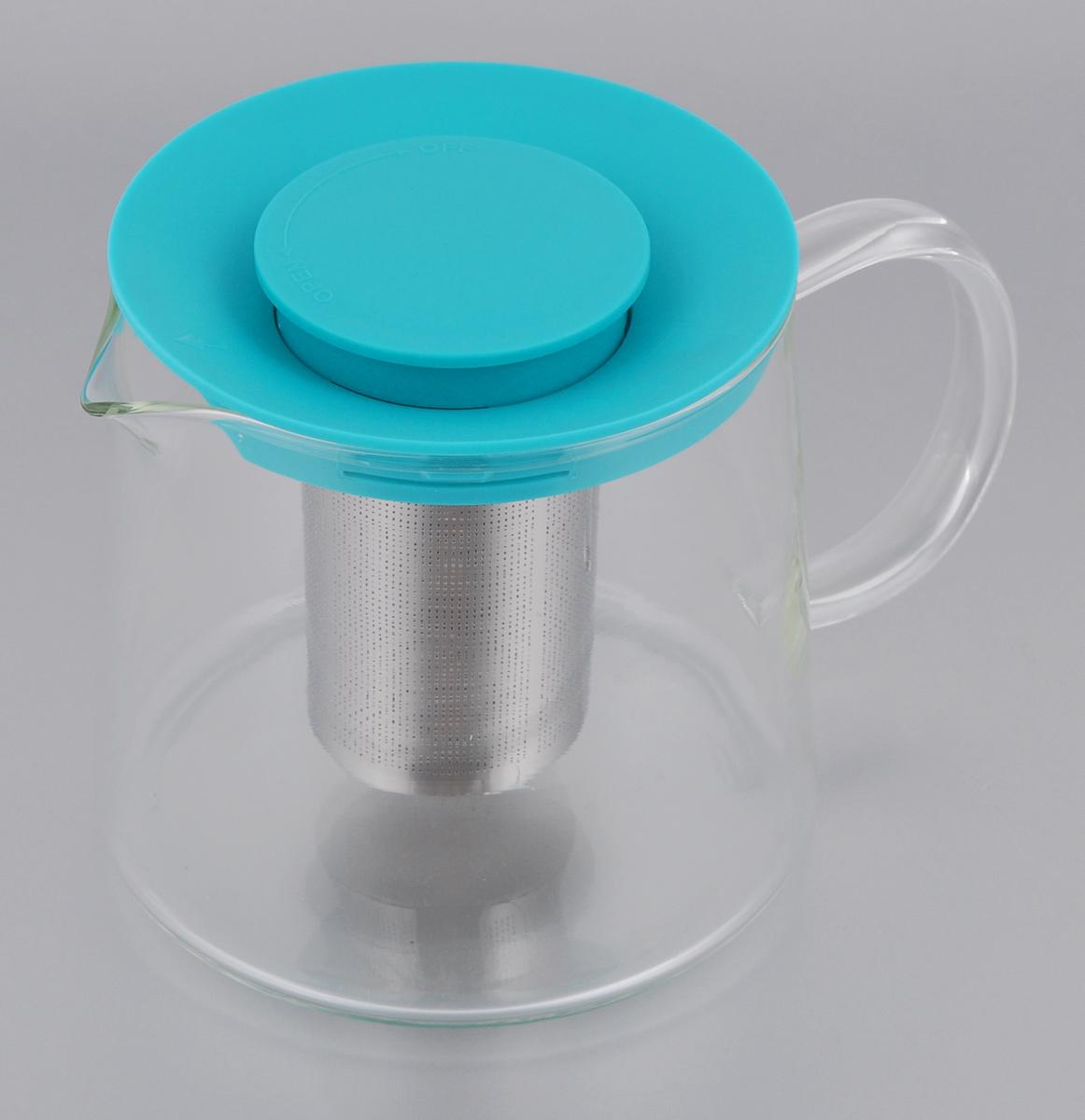 Чайник Идея Камилла, цвет: бирюзовый, прозрачный, 1 л391602Чайник Идея Камилла прекрасно подходит для заваривания чая, кофе и травяных настоев. Чайник изготовлен из высококачественного жаропрочного стекла, оснащен металлическим фильтром и пластиковой крышкой. Основные достоинства чайника: - возможность регулировать время заваривания, - возможность комбинировать напиток с различными наполнителями (специи, травы), - возможность подогрева напитка на газовой плите (при 180°С). Диаметр (по верхнему краю): 11 см. Диаметр основания: 12,5 см. Высота фильтра: 8 см. Высота чайника: 11,5 см.